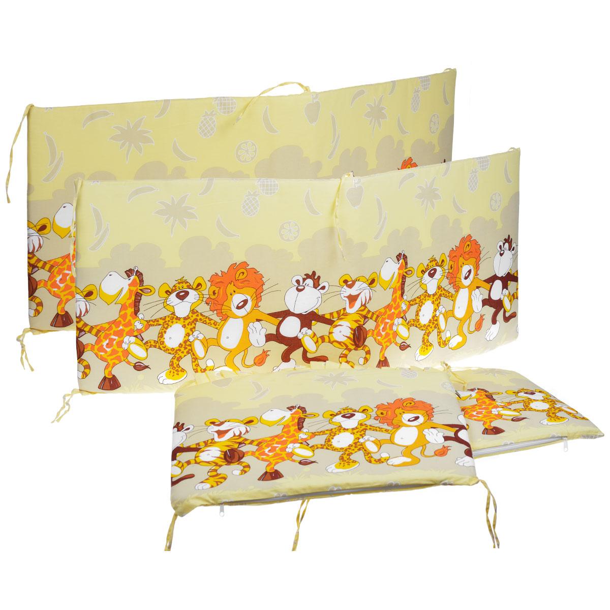 Бампер в кроватку Африка, цвет: бежевый131/4_бежевыйБампер в кроватку Африка состоит из четырех частей и закрывает весь периметр кроватки. Бортик крепится к кроватке с помощью специальных завязок, благодаря чему его можно поместить в любую детскую кроватку. Бампер выполнен из бязи - натурального хлопка безупречной выделки. Деликатные швы рассчитаны на прикосновение к нежной коже ребенка. Бампер оформлен оборками и авторским рисунком с изображениями веселых танцующих зверей. Наполнителем служит холлкон - эластичный синтетический материал, экологически безопасный и гипоаллергенный, обладающий высокими теплозащитными свойствами. Бампер защитит ребенка от возможных ударов о деревянные или металлические части кроватки. Бортик подходит для кроватки размером 120 см х 60 см.