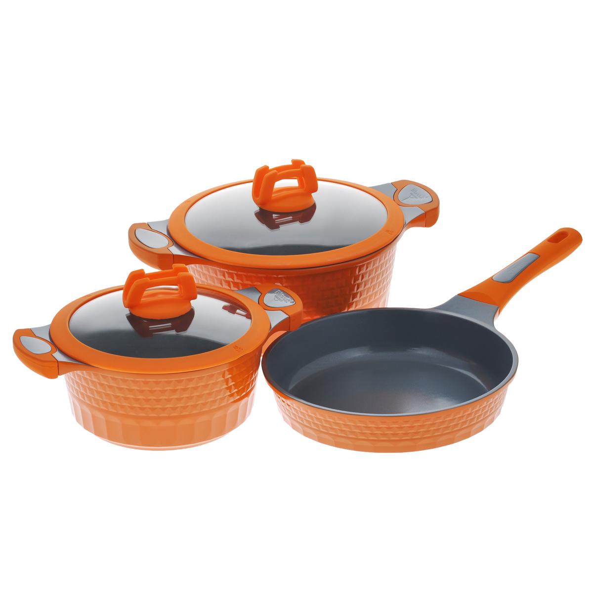 Набор посуды Winner, с керамическим покрытием, цвет: оранжевый, 5 предметов. WR-1302WR-1302В набор посуды Winner входят 2 кастрюли с крышками и сковорода. Предметы набора выполнены из высококачественного литого алюминия с антипригарным керамическим нанопокрытием Cerock. Посуда с нанопокрытием обладает высокой прочностью, жаро-, износо-, коррозийной стойкостью, химической инертностью. При нагревании до высоких температур не выделяет и не впитывает в себя вредных для человека химических соединений. Нанопокрытие гарантирует быстрый и равномерный нагрев посуды и существенную экономию электроэнергии. Данная технология позволяет исключить деформацию корпуса при частом и длительном использовании посуды. Внешние стенки посуды рифленые, что придает набору особо эстетичный внешний вид. Внешнее покрытие цветное жаростойкое силиконовое. Предметы набора оснащены удобными бакелитовыми ручками с силиконовым покрытием. Крышки, выполненные из термостойкого стекла с силиконовым ободком и пароотводом, позволят вам следить за процессом приготовления пищи. Крышки плотно...