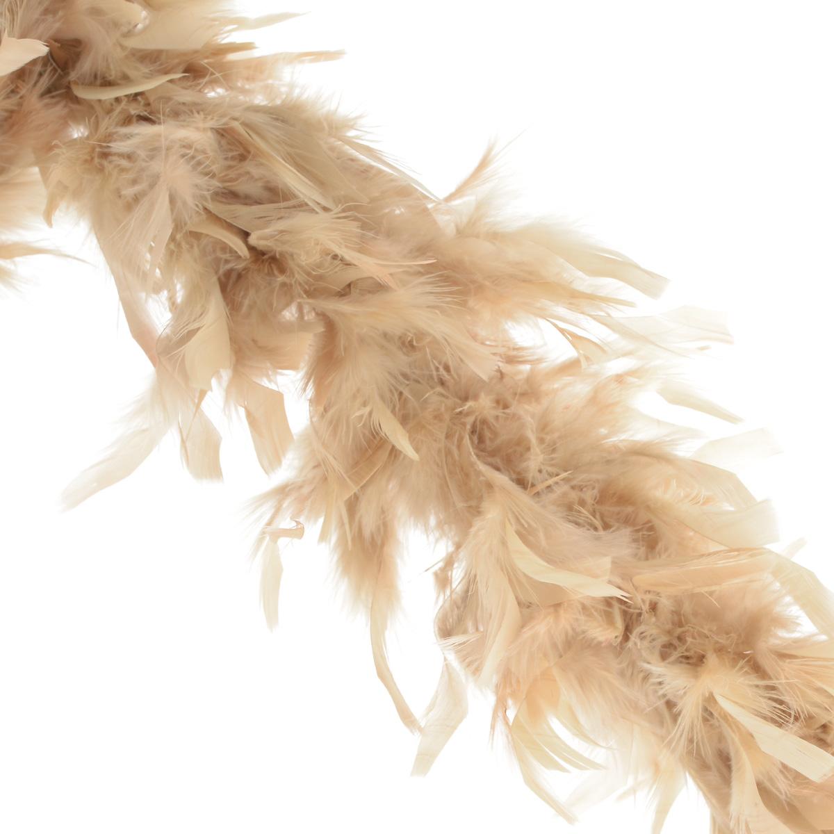 Боа, цвет: бежевый (132), 1,8 м, 50 г. 529055_132529055_132Боа изготовлен из натурального пуха. Боа используются рукодельницами для украшения различных нарядов - от вечерних платьев до театральных костюмов. Одежда, в которой применяется боа, отличается своей нарядностью и яркостью. Сам пух по ощущениям очень приятен, легок и вызывает праздничное настроение. Пух можно использовать как флористический аксессуар, подчеркивая красоту фактурных композиций, контрастируя с гладкими листьями или лепестками. Материал: натуральный пух. Длина: 1,8 м. Вес: 50 г.