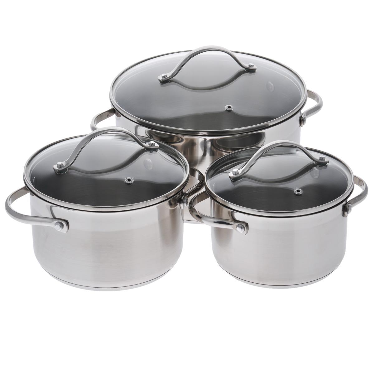 Набор посуды Winner, 6 предметов. WR-1100WR-1100В набор посуды Winner входят 3 кастрюли с крышками. Вся посуда выполнена из высококачественной нержавеющей стали 18/10, а идеально ровная внутренняя поверхность значительно облегчает мытье. Энергосберегающее, капсулированное дно быстро и равномерно распределяет тепло. Матовая полировка с зеркальной полосой придает набору особо эстетичный внешний вид. Предметы набора оснащены двумя удобными ручками из нержавеющей стали. Крышки, выполненные из термостойкого стекла с ободком из нержавеющей стали и пароотводом, позволят вам следить за процессом приготовления пищи. Крышки плотно прилегают к краям посуды, предотвращая проливание жидкости и сохраняя аромат блюд. Подходит для газовых, электрических, стеклокерамических и индукционных плит. Можно мыть в посудомоечной машине. Набор посуды Winner - идеальный подарок для современных хозяек, которые следят за своим здоровьем и здоровьем своей семьи. Эргономичный дизайн и функциональность набора позволят вам...