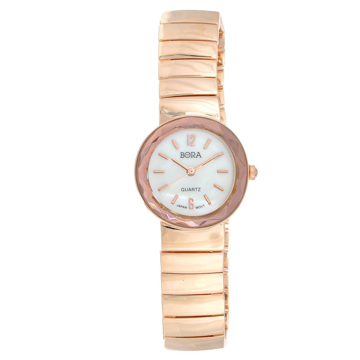 Часы наручные женские Bora, цвет: золотой. FWBR067 / T-B-8092-WATCH-ROSEGOLDFWBR067 / T-B-8092-WATCH-ROSEGOLDЧасы торговой марки Bora отличает изысканный стиль и превосходное качество изготовления. Японский механизм Seiko отличает невероятная точность. С ними вы точно не пропустите ничего интересного. Корпус часов выполнен из легированного металлического сплава под «розовое золото», цифры на циферблате отсутствуют, кроме отметок 6 и 12 часов. Ремешок изготовлен из металлического сплава и застегивается на классическую застежку-пряжку. Практичная и незаменимая вещь в сумасшедшем ритме современной жизни. Стильный и элегантный аксессуар идеально дополнит Ваш повседневный образ. Характеристики: Размеры корпуса: 2,6 х 2,6 х 0,6 см. Длина ремешка без учета корпуса: 15 х 1,5 см. Не водостойкие.