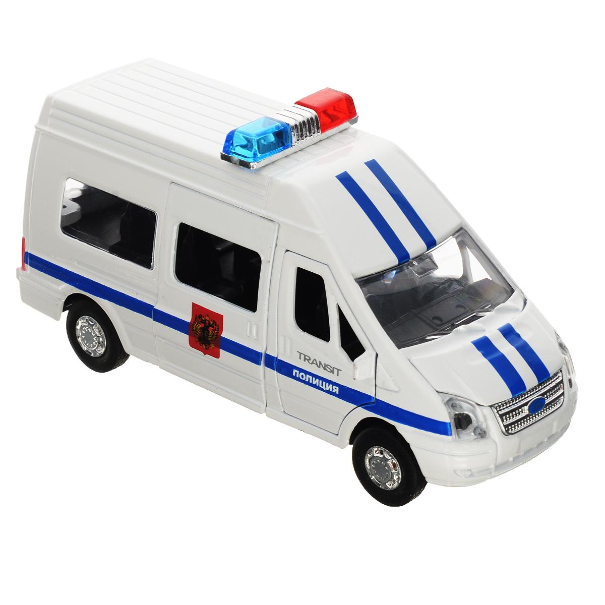 ТехноПарк Машинка инерционная Ford Transit ПолицияSB-13-02-2Инерционная машинка ТехноПарк Ford Transit: Полиция, выполненная из пластика и металла, станет любимой игрушкой вашего малыша. Игрушка представляет собой модель полицейского автомобиля марки Ford Transit. У машинки открываются передние дверцы, капот, а также боковая дверца и дверца багажного отделения. При нажатии на капот на крыше модели замигают проблесковые маячки и прозвучат звуки сирены и команды полицейского. Игрушка оснащена инерционным ходом. Машинку необходимо отвести назад, затем отпустить - и она быстро поедет вперед. Прорезиненные колеса обеспечивают надежное сцепление с любой гладкой поверхностью. Ваш ребенок будет часами играть с этой машинкой, придумывая различные истории. Порадуйте его таким замечательным подарком! Машинка работает от батареек (товар комплектуется демонстрационными).