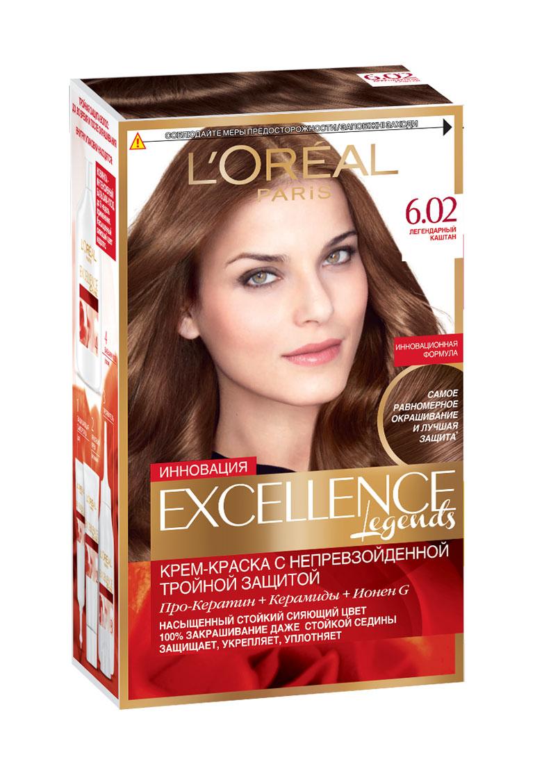 LOreal Paris Краска для волос Excellence, оттенок 6.02, Легендарный каштан, 270 млA8463628Крем-краска Excellence защищает волосы до, во время и после окрашивания. Активная формула с Про-Кератином, Керамидами и активным компонентом Ионен G обеспечивает стойкий равномерный цвет и 100% закрашивание седины. Защитная сыворотка лечит поврежденные участки волос. Густой красящий крем обволакивает каждый волос и насыщает его цветом. Бальзам-уход восстанавливает, укрепляет и уплотняет волосы. В состав упаковки входит: защищающая сыворотка (12 мл), флакон-аппликатор с проявителем (72 мл), тюбик с красящим кремом (48 мл), флакон с бальзамом-уходом (60 мл), аппликатор-расческа, инструкция, пара перчаток.