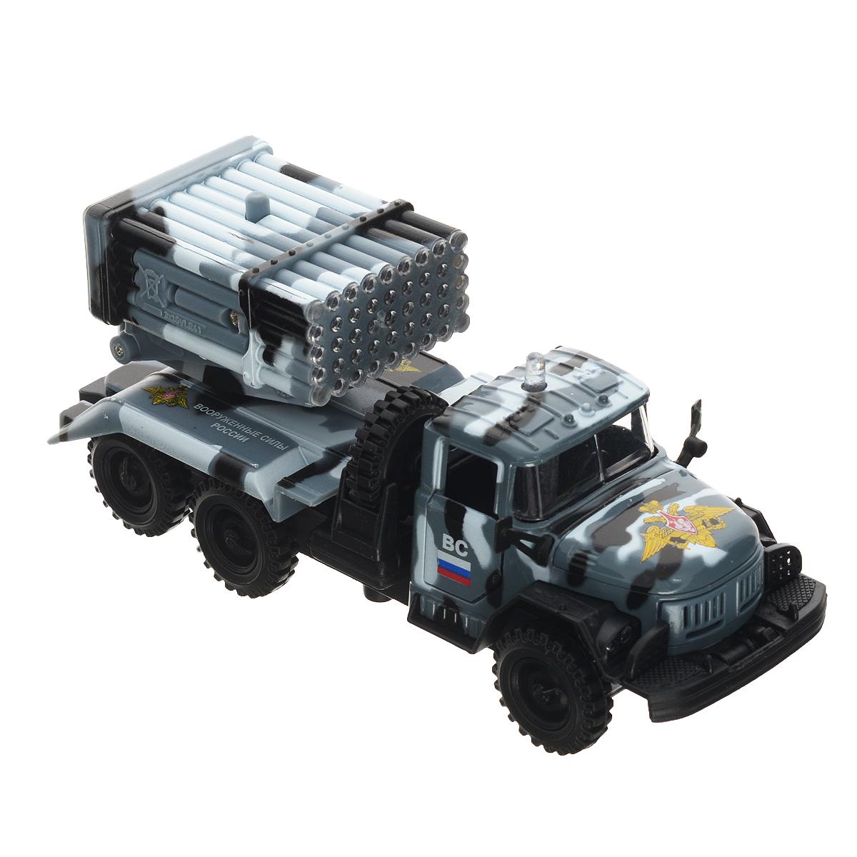 ТехноПарк Машинка инерционная ЗИЛ 131 ВС цвет серый камуфляжCT10-001-M-3Инерционная машинка ТехноПарк ЗИЛ 131 ВС, выполненная из пластика и металла, станет любимой игрушкой вашего малыша. Игрушка представляет собой модель армейского грузовика марки ЗИЛ 131 с расположенной на месте кузова системой залпового огня. У машинки открываются дверцы кабины, система залпового огня поворачивается на 360 градусов. Между кабиной и кузовом расположено запасное колесо, которое также может быть использовано по назначению. При нажатии на кнопку замигают изображающие огонь лампочки, прозвучат звуки выстрелов и команды военных. Игрушка оснащена инерционным ходом. Машинку необходимо отвести назад, затем отпустить - и она быстро поедет вперед. Прорезиненные колеса обеспечивают надежное сцепление с любой гладкой поверхностью. Ваш ребенок будет часами играть с этой машинкой, придумывая различные истории. Порадуйте его таким замечательным подарком! Машинка работает от батареек (товар комплектуется демонстрационными).