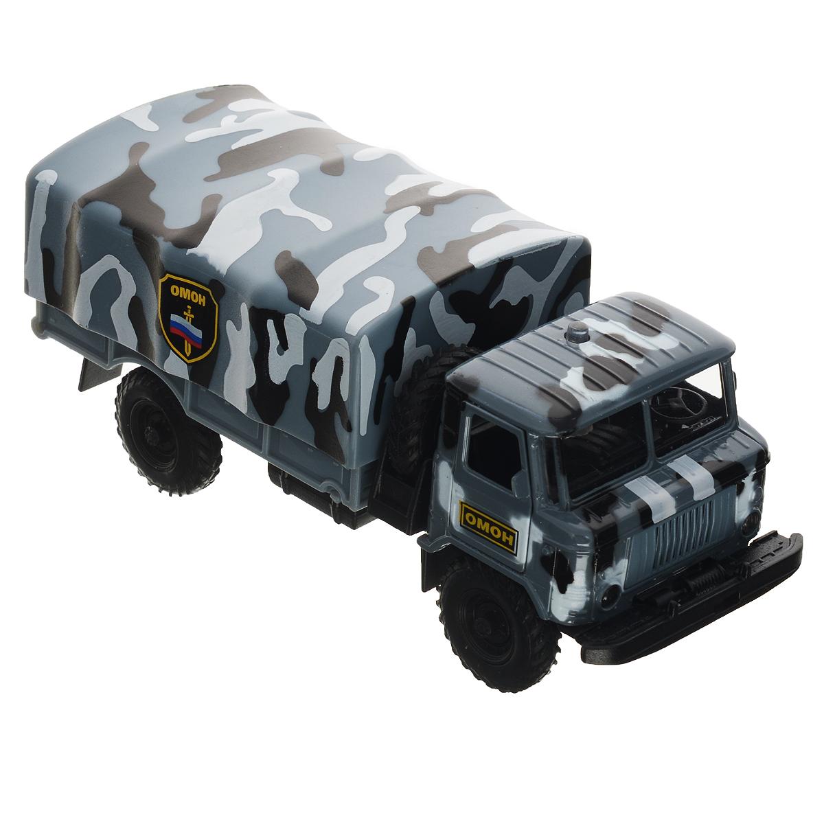 ТехноПарк Машинка инерционная ГАЗ 66 ОМОНCT-1299-22Инерционная машинка ТехноПарк ГАЗ 66: ОМОН, выполненная из пластика и металла, станет любимой игрушкой вашего малыша. Игрушка представляет собой модель спецавтомобиля ОМОНа марки ГАЗ 66. У машинки открываются дверцы кабины и капот, снимается верхняя часть кузова и открывается задний борт. Между кабиной и кузовом расположено запасное колесо, которое также может быть использовано по назначению. При нажатии на кнопку на крыше кабины замигают фары, прозвучат звуки сирены и команды диспетчера. Игрушка оснащена инерционным ходом. Машинку необходимо отвести назад, затем отпустить - и она быстро поедет вперед. Прорезиненные колеса обеспечивают надежное сцепление с любой гладкой поверхностью. Ваш ребенок будет часами играть с этой машинкой, придумывая различные истории. Порадуйте его таким замечательным подарком! Машинка работает от батареек (товар комплектуется демонстрационными).