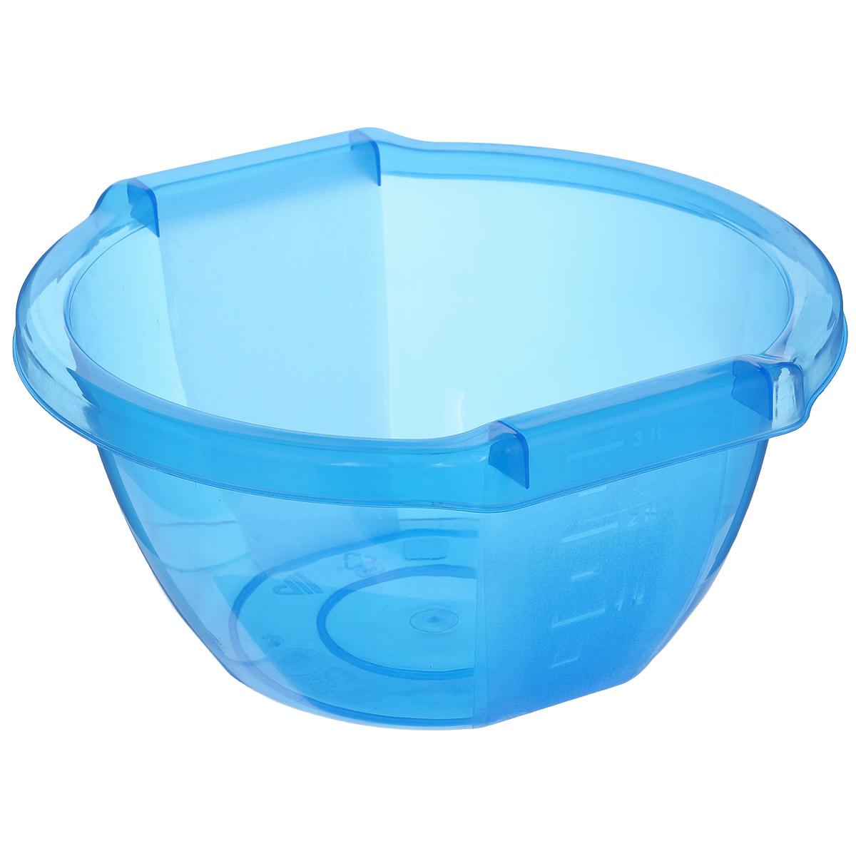 Чаша Альтернатива Стиль, цвет: голубой, 3 лМ506Чаша Альтернатива Стиль изготовлена из высококачественного пластика и подходит для повседневного использования. Сбоку имеется мерная шкала. Чаша оснащена удобными ручками. Чаша отлично подойдет для овсяных хлопьев, фруктов, риса или замешивания теста. Также в ней можно приготовить салаты. Практичный дизайн чаши подойдет практически для любого случая. Размер чаши: 24,5 см х 25,5 см 12,5 см. Объем чаши: 3 л.