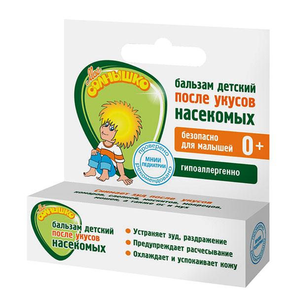 Мое солнышко Бальзам детский после укусов насекомых, 2,8 г02.03.16.1327Детский бальзам после укусов насекомых Мое солнышко разработан специально для детей. Бальзам в удобной форме карандаша эффективно ухаживает за кожей малыша после укусов комаров, слепней, мух и других насекомых. Комплекс активных ингредиентов на основе вытяжки ячменных зерен, масла ши и арганы с экстрактами ромашки и подорожника оказывает успокаивающее действие на кожу в месте укуса - устраняет зуд, раздражение и покраснение кожи. Масло мяты обеспечивает длительное охлаждающее, освежающее действие. Рекомендуется применять для кожи тела с рождения. Гипоаллергенно. Клинически проверено и рекомендовано ФГУ МНИИ Педиатрии и детской хирургии. Товар серцифицирован.