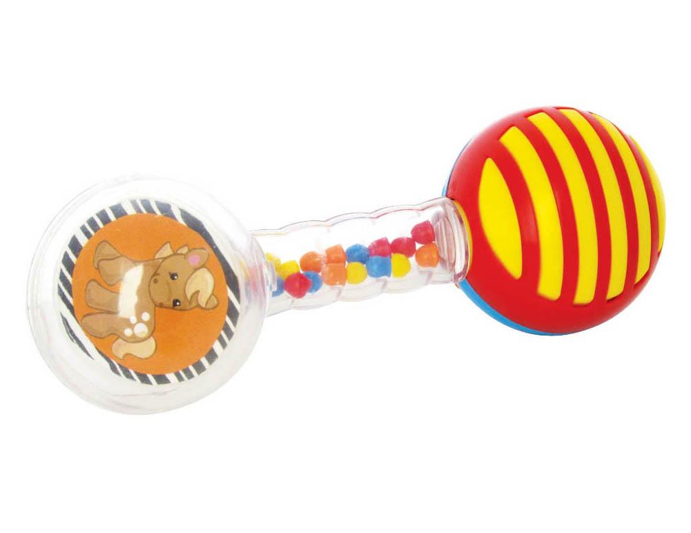 Погремушка Мир детства Веселая гантелька21367Погремушка Stellar Веселая гантелька - идеальный вариант для первой игрушки малыша. Погремушка выполнена в форме гантели, что очень удобно для маленьких детских ручек, с нанизанными на нее разноцветными фигурными подвижными кольцами. При потряхивании погремушки, благодаря мелким цветным шарикам внутри корпуса, раздается приятный шуршащий звук. Погремушка выполнена из высококачественного абсолютно безопасного прозрачного и цветного пластика. Погремушку рекомендуется использовать с самого рождения для развития у малыша мелкой моторики рук, слухового и цветового восприятия, концентрации внимания, для стимулирования взаимодействия между органами осязания, слухом и зрением, для ознакомления с понятиями формы и цвета.