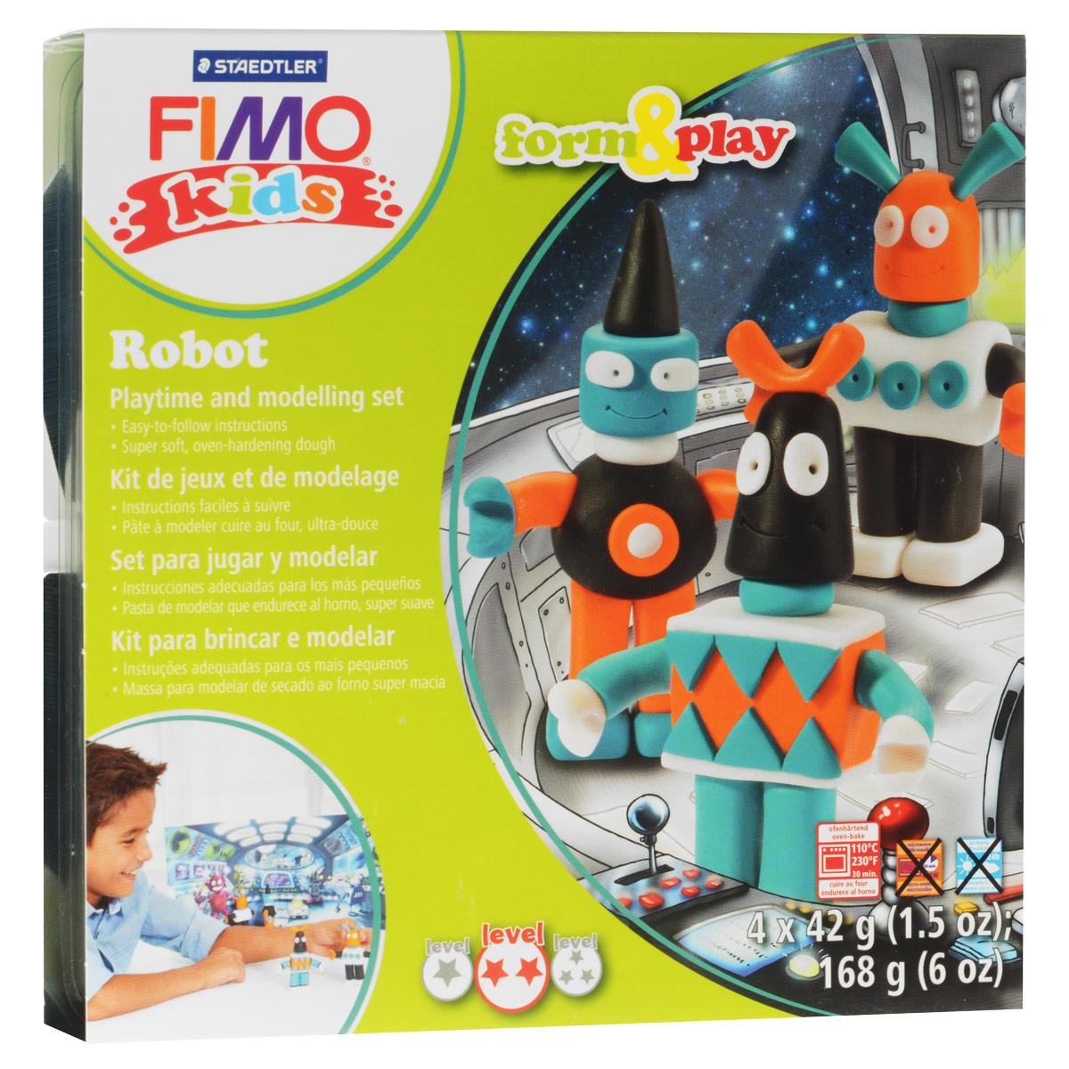 Набор для лепки Fimo Kids Робот8034 03 LZНабор для лепки Fimo Kids Робот представляет собой сочетание моделирования и игры. Набор включает в себя: 4 блока массы для лепки по 42 г (оранжевый, бирюзовый, черный, блестящий белый), стек для моделирования, игровая фоновая сцена. Входящая в набор полимерная глина разработана специально для детей, она мягкая, пластичная и ей легко придавать различные формы. Игровая фоновая сцена, изображенная на внутренней стороне упаковки, не только доставит дополнительное удовольствие от игры, но и вдохновит на новые идеи моделирования. При помощи этого набора ваш малыш сможет своими руками изготовить оригинальные фигурки роботов. В домашних условиях готовая поделка выпекается в духовом шкафу при температуре 110°С в течении 15-30 минут (в зависимости от величины изделия). Отвердевшие изделия могут быть раскрашены акриловыми красками, покрыты лаком, склеены друг с другом или с другими материалами.