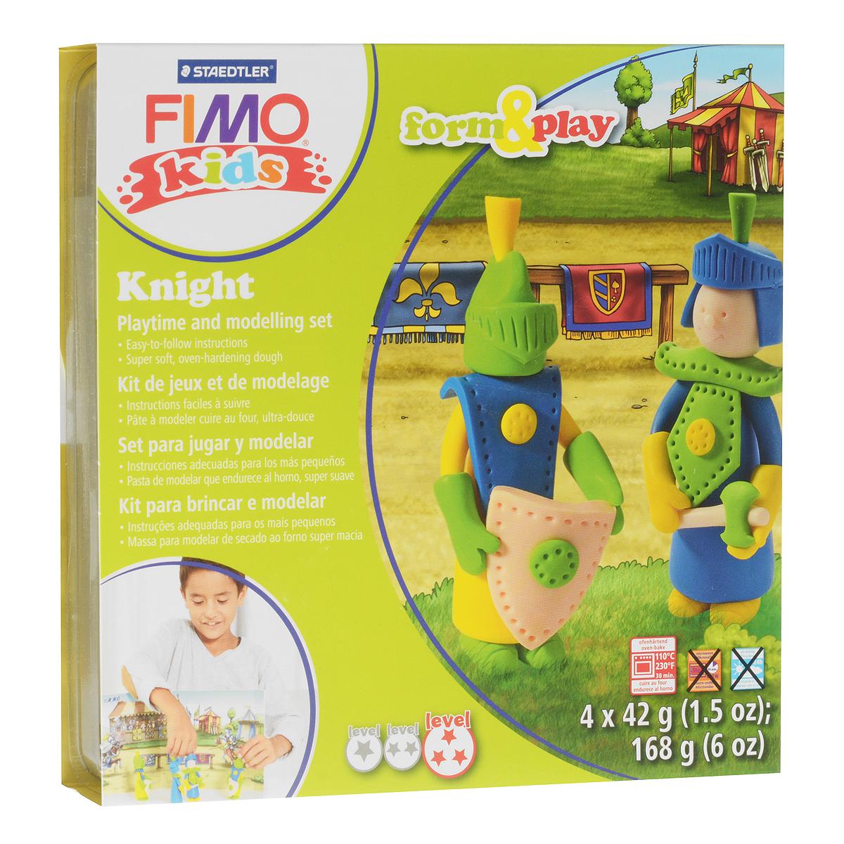 Набор для лепки Fimo Kids Рыцарь8034 05 LZНабор для лепки Fimo Kids Рыцарь представляет собой сочетание моделирования и игры. Набор включает в себя: 4 блока массы для лепки по 42 г (желтый, синий, светло-зеленый, телесный), стек для моделирования, игровая фоновая сцена. Входящая в набор полимерная глина разработана специально для детей, она мягкая, пластичная и ей легко придавать различные формы. Игровая фоновая сцена, изображенная на внутренней стороне упаковки, не только доставит дополнительное удовольствие от игры, но и вдохновит на новые идеи моделирования. При помощи этого набора ваш малыш сможет своими руками изготовить оригинальные фигурки рыцарей. В домашних условиях готовая поделка выпекается в духовом шкафу при температуре 110°С в течении 15-30 минут (в зависимости от величины изделия). Отвердевшие изделия могут быть раскрашены акриловыми красками, покрыты лаком, склеены друг с другом или с другими материалами.
