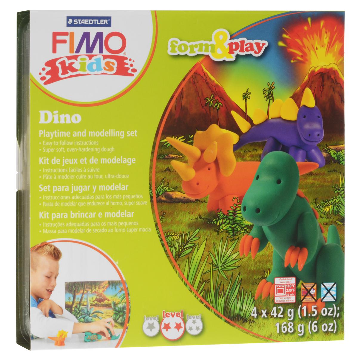 Набор для лепки Fimo Kids Дино8034 07 LZНабор для лепки Fimo Kids Дино представляет собой сочетание моделирования и игры. Набор включает в себя: 4 блока массы для лепки по 42 г (желтый, оранжевый, зеленый, фиолетовый), стек для моделирования, игровая фоновая сцена. Входящая в набор полимерная глина разработана специально для детей, она мягкая, пластичная и ей легко придавать различные формы. Игровая фоновая сцена, изображенная на внутренней стороне упаковки, не только доставит дополнительное удовольствие от игры, но и вдохновит на новые идеи моделирования. При помощи этого набора ваш малыш сможет своими руками изготовить забавные фигурки динозавров. В домашних условиях готовая поделка выпекается в духовом шкафу при температуре 110°С в течении 15-30 минут (в зависимости от величины изделия). Отвердевшие изделия могут быть раскрашены акриловыми красками, покрыты лаком, склеены друг с другом или с другими материалами.