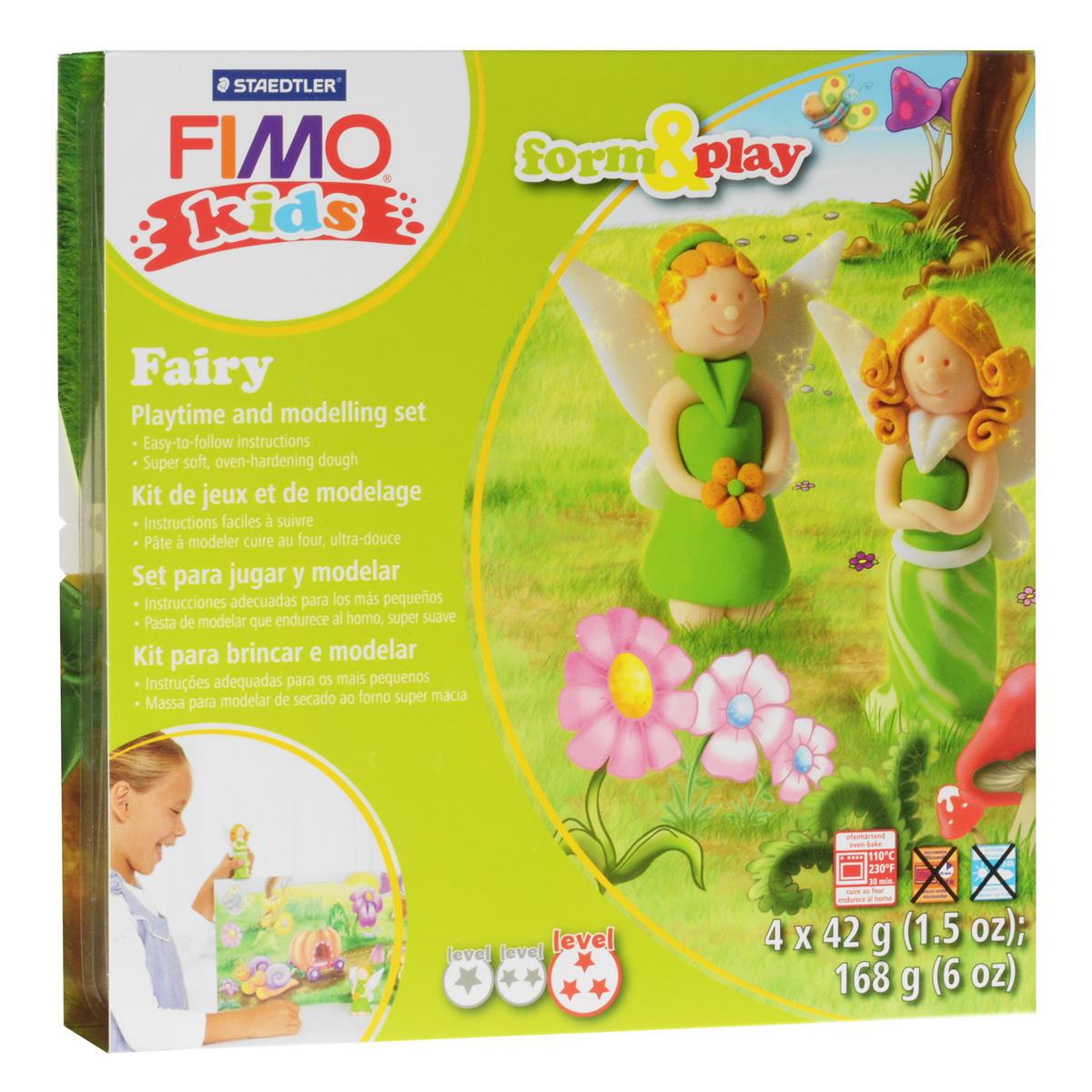 Набор для лепки Fimo Kids Фея8034 04 LZНабор для лепки Fimo Kids Фея представляет собой сочетание моделирования и игры. Набор включает в себя: 4 блока массы для лепки по 42 г (светло-зеленый, телесный, блестящий белый, блестящий золотой), стек для моделирования, игровая фоновая сцена. Входящая в набор полимерная глина разработана специально для детей, она мягкая, пластичная и ей легко придавать различные формы. Игровая фоновая сцена, изображенная на внутренней стороне упаковки, не только доставит дополнительное удовольствие от игры, но и вдохновит на новые идеи моделирования. При помощи этого набора ваш малыш сможет своими руками изготовить красивые фигурки фей. В домашних условиях готовая поделка выпекается в духовом шкафу при температуре 110°С в течении 15-30 минут (в зависимости от величины изделия). Отвердевшие изделия могут быть раскрашены акриловыми красками, покрыты лаком, склеены друг с другом или с другими материалами.