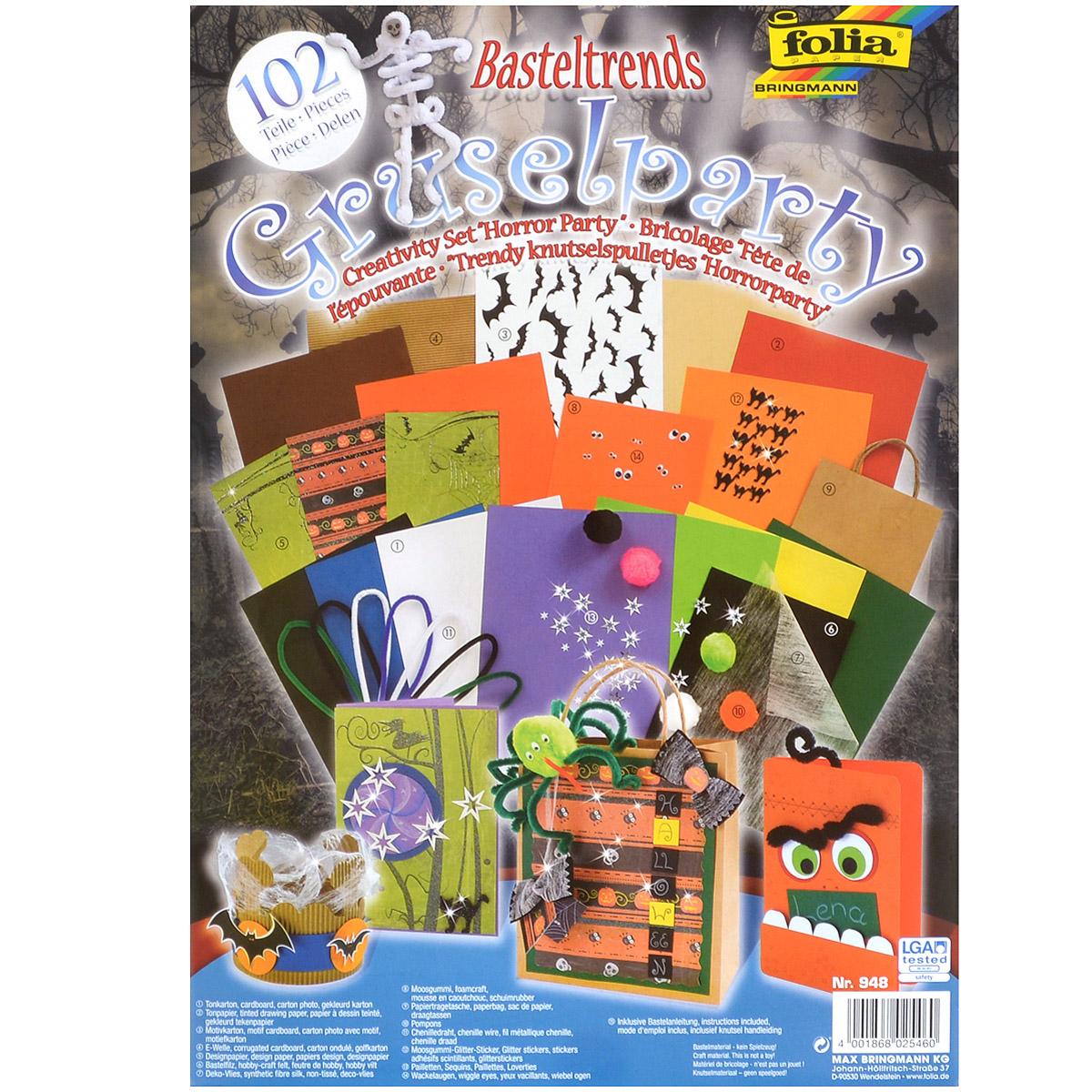 Набор для творчества Folia Вечеринка, 102 предмета7708142Набор для творчества Folia Вечеринка позволит вашему ребенку создавать всевозможные аппликации и поделки. В набор входит: - 1 лист дизайнерского картона (25 см х 35 см); - 6 листов цветного картона (25 см х 35 см); - 6 листов цветной бумаги (25 см х 35 см); - 1 лист гофрокартона (25 см х 35 см); - 3 листа дизайнерской бумаги с аппликацией (15 см х 30 см); - 1 лист черного фетра (20 см х 30,5 см); - 1 лист бумаги-паутины (23,5 см х 33 см); - 1 лист пенистой бумаги (20 см х 29 см); - 1 бумажная сумочка (18 см х 7,8 см х 21 см); - 5 помпонов разных цветов; - 7 проволочек шенила (4 цвета); - 15 наклеек; - 7 пар глазков; - 47 декоративные звездочки; - схема поделок. Работа с набором для творчества Folia Вечеринка развивает мелкую моторику, усидчивость, внимание, фантазию и творческие способности. С таким богатым материалом ваш ребенок сможет заниматься творчеством круглый год!