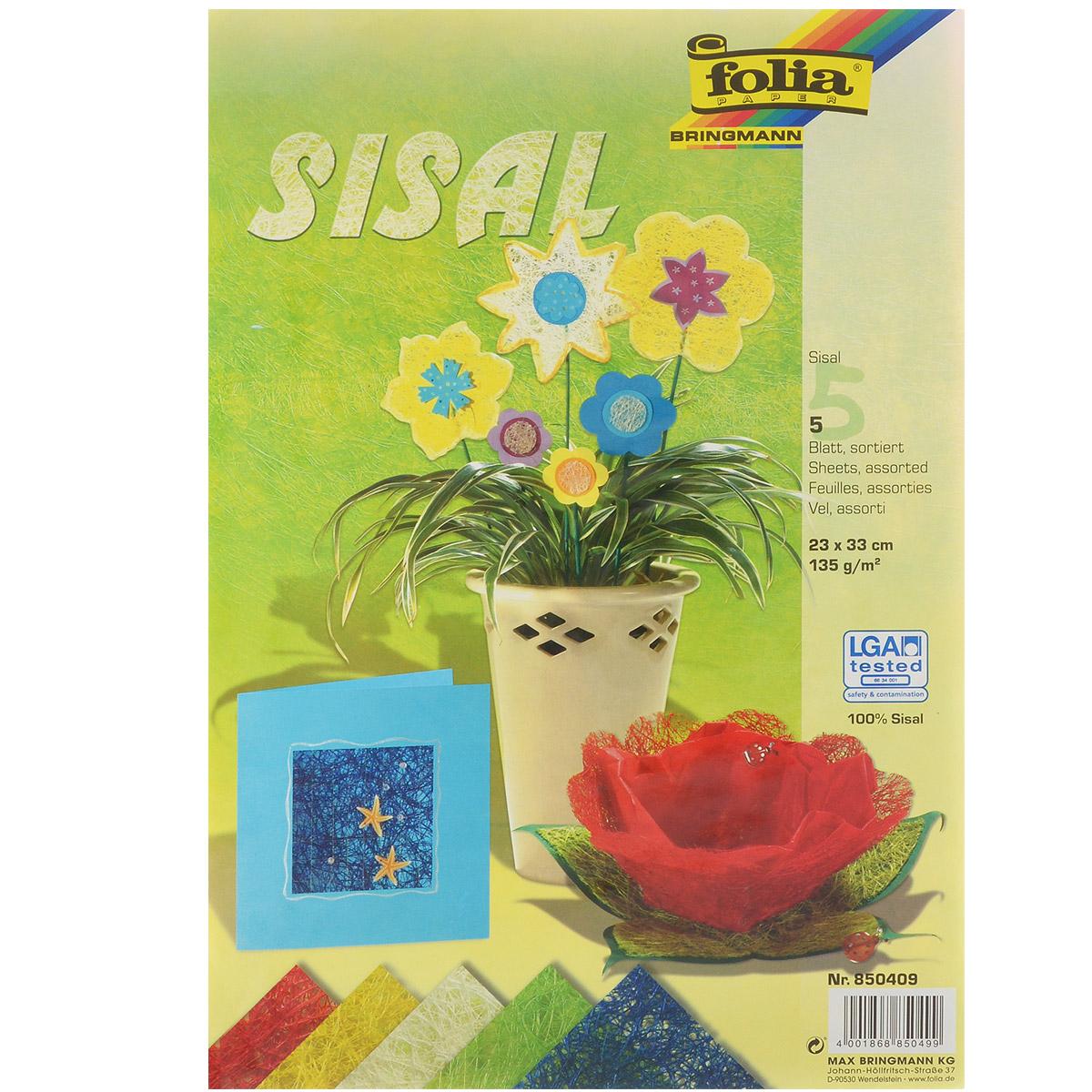 Сизаль листовой Folia, 23 х 33 см, 5 листов. 77080947708094Листовой сизаль Folia является необыкновенным аксессуаром для флористики и упаковки подарков. Это тонкие, прочные волокна, которые изготовляют из листьев агавы. В комплекте - 5 листов сизаля: желтого, зеленого, синего, красного и молочного цветов. Сизаль окрашивается в различные цвета и затем из его волокон плетут декоративные веревки, украшают металлические каркасы для букетов, используют его в изготовлении корзин. В подарочной упаковке сизаль удачно используют в изготовлении оригинального оберточного материала. Также сизаль используют как наполнитель в коробках. Во многих флористических композициях сизаль создает легкое облако над букетом, придавая воздушность и свежесть цветам. В рождественских декорациях сизаль подчеркивает зимнее настроение коллекций. Такой материал можно комбинировать с различными аксессуарами, как с природными - веточки, шишки, скорлупа, кора, перья так и с искусственными - стразы, бисер, бусины. Уникальная токая структура волокон...