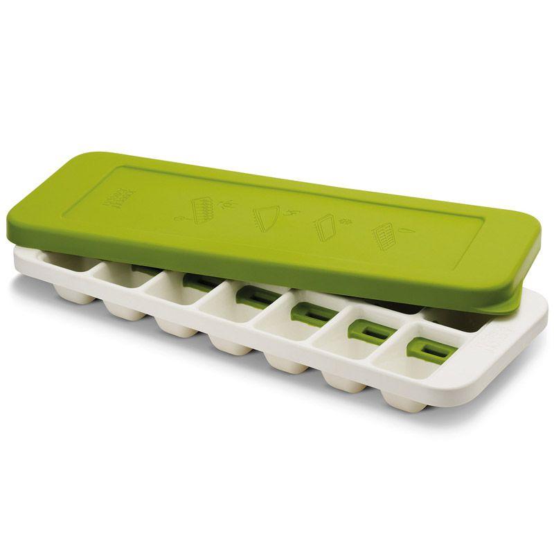 Форма для льда Joseph Joseph Quick Snap Plus с крышкой, цвет: зеленый, 14 ячеек20018Форма для льда Joseph Joseph Quick Snap Plus, изготовленная из высококачественного пластика, оснащена крышкой и 14 ячейками для приготовления льда. Иногда из формы для льда сложно достать один конкретный кубик: они либо высыпаются все, либо ни одного. В этой форме каждая ячейка оснащена специальной силиконовой кнопкой, которая позволяет точечно достать отдельные льдинки и отправить их сразу в стакан. Для того чтобы достать кубик льда, нужно просто нажать на кнопочку на дне формы, и лед упадет туда, куда нужно. Герметичная крышка позволяет предотвратить разлив воды и защищает лед от запахов других продуктов в морозильнике. Можно мыть в посудомоечной машине. Размер ячейки: 5 см х 3,5 см х 3 см.