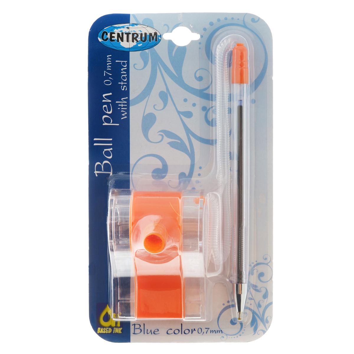 Ручка шариковая синяя 0,7 мм на спиральном шнурке, оранжевый