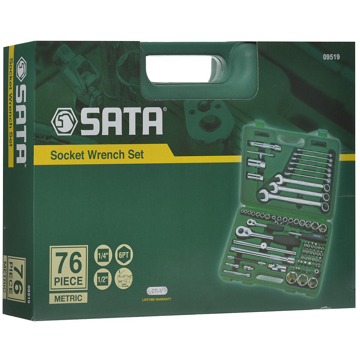 Набор инструментов SATA 76пр. 0951909519Набор инструментов Sata - это необходимый предмет в каждом доме. Он включает в себя 76 предметов, которые умещаются в небольшом пластиковом кейсе. Такой набор будет идеальным подарком мужчине. Состав набора: Биты шлицевые: 8 мм, 10 мм, 12 мм. Биты POZI: PZ1, PZ4. Биты Phillips: РН3, РН4. Биты TORX: Т40, T45, T50, T55. Биты HEX: 9 мм, 10 мм, 12 мм, 14 мм. Ключ свечной 1/2: 16 мм. Ключ свечной 1/2: 21мм. Биты шлицевые с хвостовиком под ключ 1/4: 4 мм, 5,5 мм, 6,5 мм. Биты POZI с хвостовиком под ключ 1/4: PZ1, PZ2. Биты Phillips с хвостовиком под ключ 1/4: PH1, PH2. Биты TORX с хвостовиком под ключ 1/4: Т8, T10, T15, T20, T25, T30, T40. Биты HEX с хвостовиком под ключ 1/4: 3 мм, 4 мм, 5 мм, 6 мм. Привод 1/2. Рукоятка реверсивная 1/2. Удлинитель 1/2: 125мм. Удлинитель 1/2: 250 мм. Вороток 1/2: 250 мм. Шарнир карданный 1/2. Адаптер для битов 1/2. ...