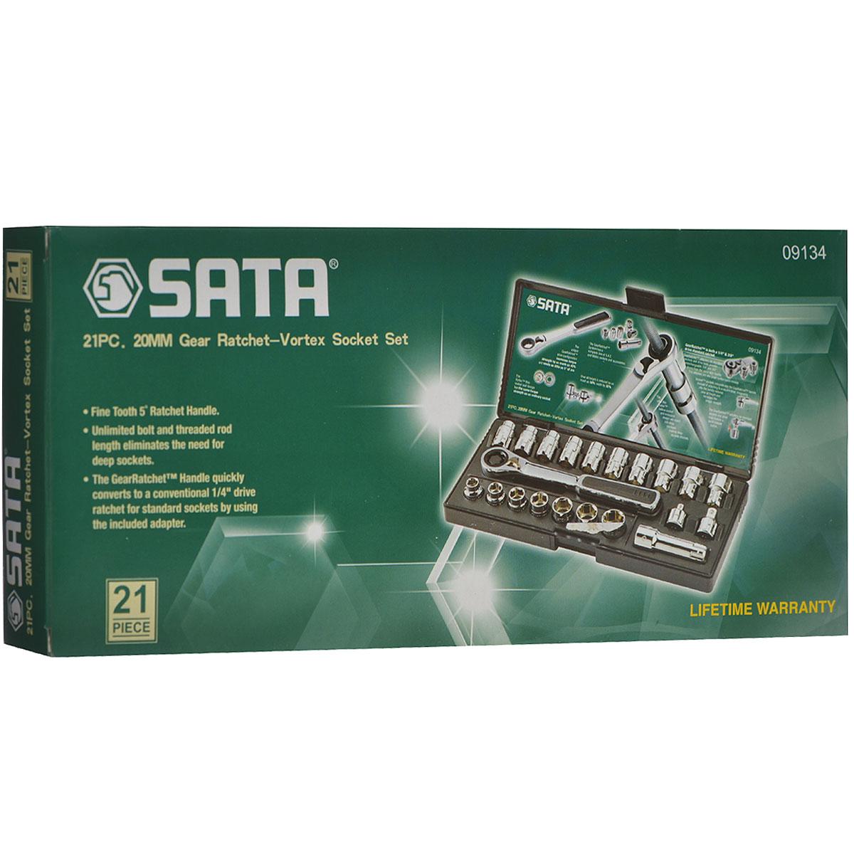 Набор торцевых головок SATA 21пр. 0913409134Набор инструментов Sata - это необходимый предмет в каждом доме. Он включает в себя 21 предмет, и упакован в небольшой пластиковый кейс. Такой набор будет идеальным подарком мужчине. Состав набора: метрические полые головки: 10 мм, 11 мм, 12 мм, 13 мм, 14 мм, 15 мм, 16 мм, 17 мм, 18 мм, 19 мм; головки: 3/8, 7/16, 1/2, 5/8, 9/16, 11/16, 3/4; адаптер: 1/4, 3/8; переходник: 3; ключ реверсивный трещоточный.