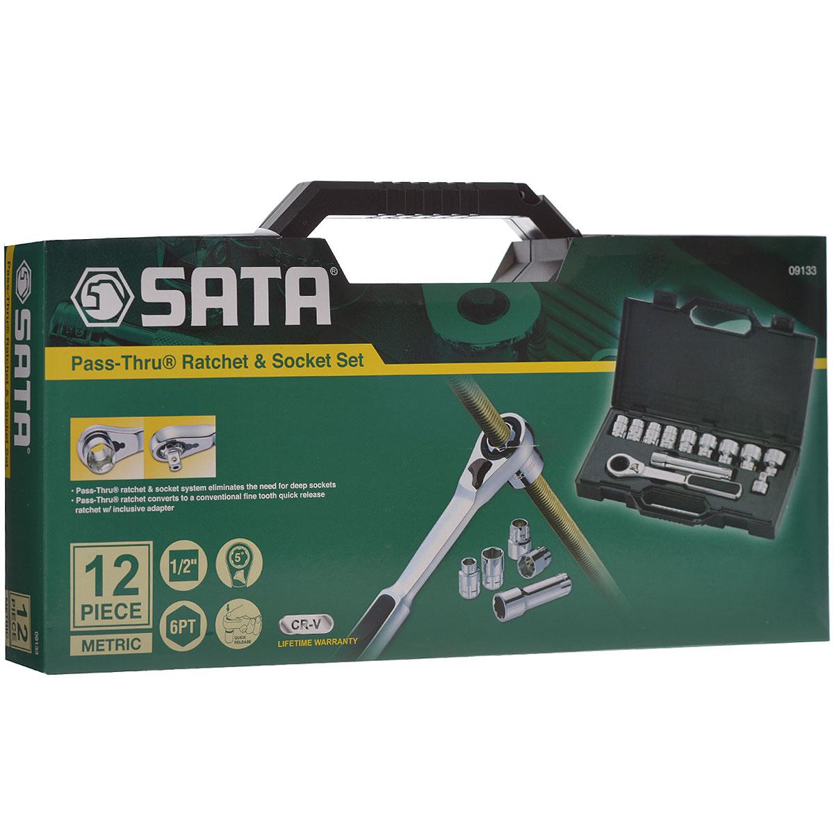 Набор торцевых головок SATA 12пр. 0913309133Набор инструментов Sata - это необходимый предмет в каждом доме и автомобиле. Набор прекрасно подойдет для проведения ремонтных работ в домашних условиях. Все инструменты выполнены из высококачественной хромованадиевой стали. В комплекте пластиковый кейс для переноски и хранения. Состав набора: Метрические торцевые головки Vortex: 19, 20, 21, 22, 24, 27, 30, 32, 34 мм. Быстросъемный переходник. Удлинитель для торцевых головок Vortex длиной 15 см. Храповая рукоятка Pass-Thru.