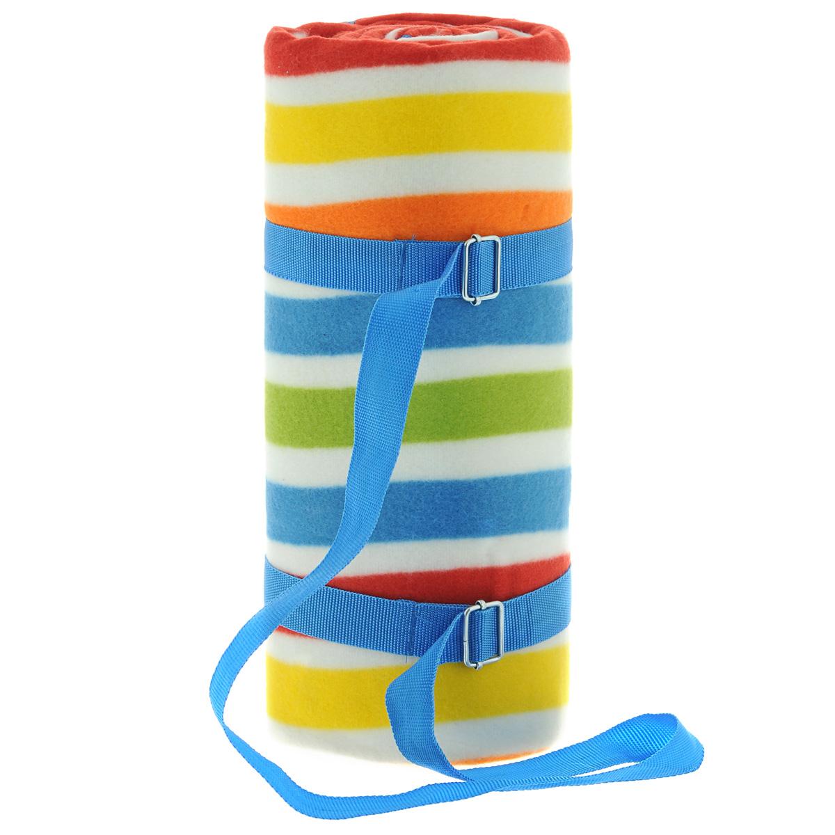 Плед для пикника Schaefer, на ремешке, цвет: синий, красный, белый, 130 х 150 см07390-455Плед для пикника Schaefer идеален для создания уюта на пикнике или в машине. Верх пледа - 100% полиэстер, низ пледа - алюминиевая непромокаемая подкладка. Плед оформлен принтом в полоску и оснащен удобным ремешком для переноски.
