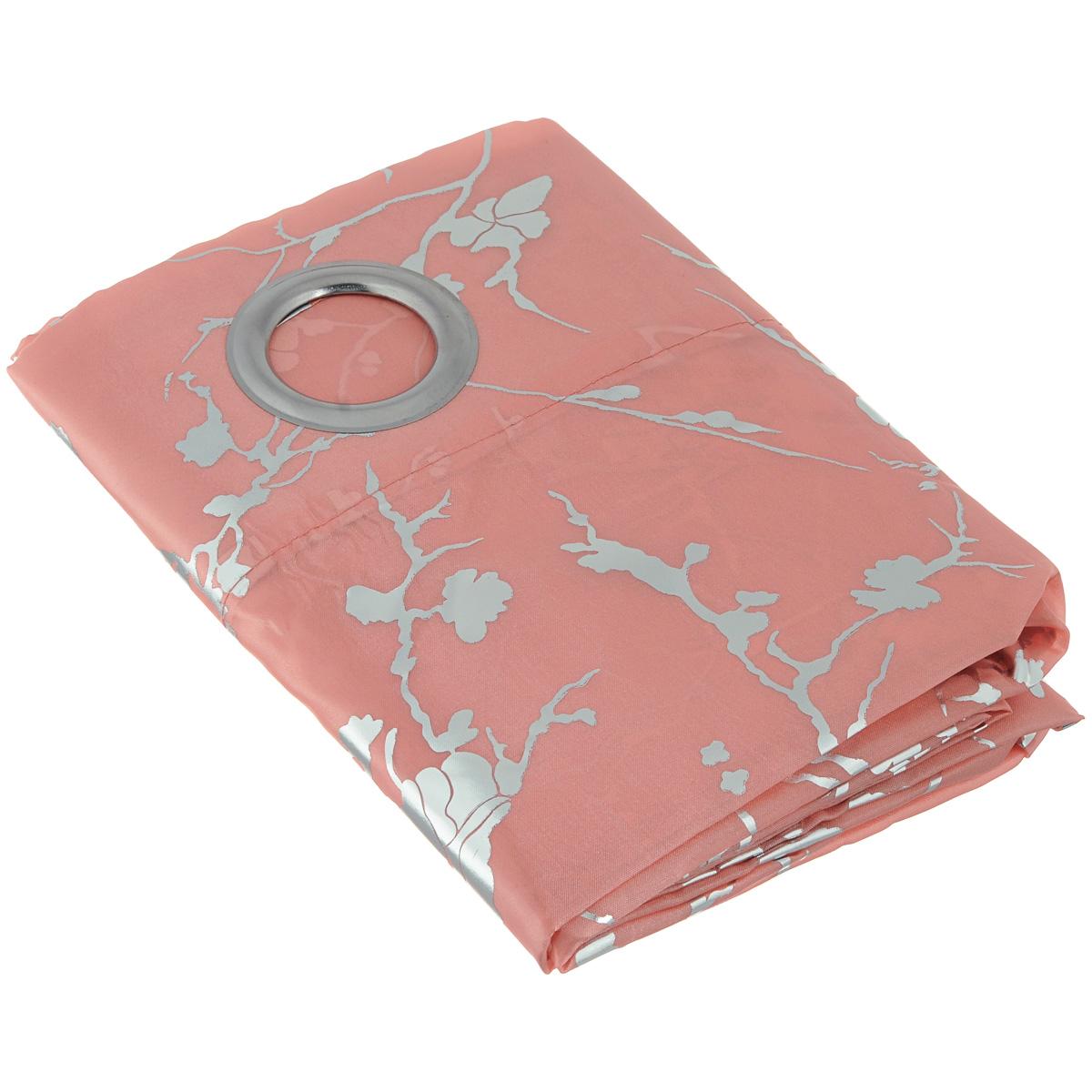 Штора Home Queen Металлик, на люверсах, цвет: розовый, высота 275 см. 6502465024Изящная штора Home Queen Металлик выполнена из полиэстера. Плотная ткань, приятная цветовая гамма и металлизированный цветочный узор привлекут к себе внимание и органично впишутся в интерьер помещения. Эта штора будет долгое время радовать вас и вашу семью! Штора крепится на карниз при помощи люверсов. Диаметр отверстия люверса: 4 см.