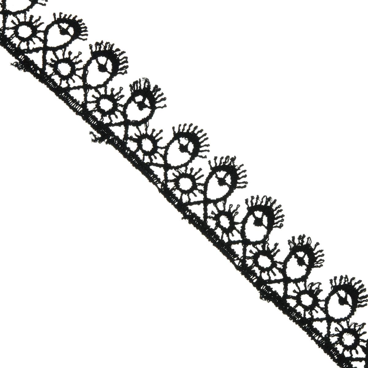 Кружево вязаное Астра, цвет: черный, ширина 2 см, длина 9 м. 77043817704381Кружево Астра, изготовленное из 35% хлопка и 65% полиэстера, предназначено для декорирования. Вязаное кружево часто применяется для завершения таких изделий, как шали, платки, кофточки, салфетки, скатерти, а также для изготовления воротников, манжет, различных отделок. Кружева широко применяются в оформлении интерьера: в виде декоративных панно, скатертей, занавесок, постельного белья (подушки, покрывала), салфеток и подстаканников. Ширина: 2 см. Длина: 9 м.
