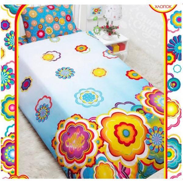 Комплект белья Chupa-Chups Цветы на бирюзе (1,5-спальный КПБ, бязь, наволочки 50х70) ( 521603 )