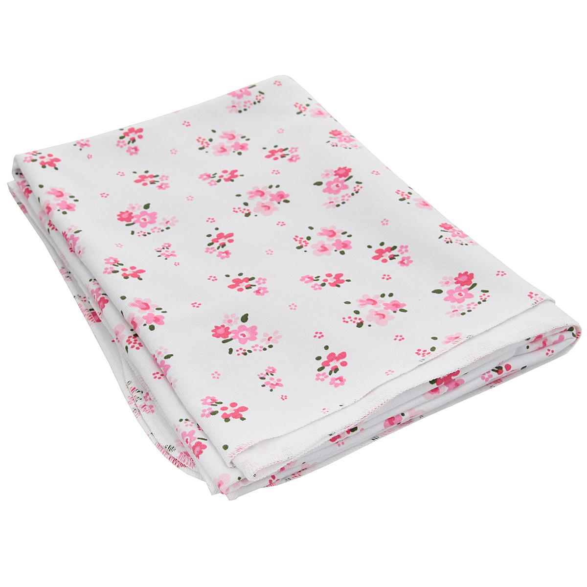 Пеленка трикотажная Трон-Плюс Цветы, цвет: белый, розовый, 120 см х 90 см5421Детская трикотажная пеленка Трон-Плюс Цветы подходит для пеленания ребенка с самого рождения. Она невероятно мягкая и нежная на ощупь. Пеленка выполнена из интерлока набивного - мягкое эластичное трикотажное полотно из хлопка гладкого покроя. Края обработаны швом оверлока. Такая ткань прекрасно дышит, она гипоаллергенна, почти не мнется и не теряет формы после стирки. Мягкая ткань укутывает малыша с необычайной нежностью. Пеленку также можно использовать как легкое одеяло в жаркую погоду, простынку, полотенце после купания, накидку для кормления грудью или солнцезащитный козырек. Пеленка оформлена изображениями цветов. Ее размер подходит для пеленания даже крупного малыша. Рекомендована ручная стирка при температуре не более 40°C. Не отбеливать. Температура глажения не более 150°C. Сушить в подвешенном виде. Не подвергать химической чистке.