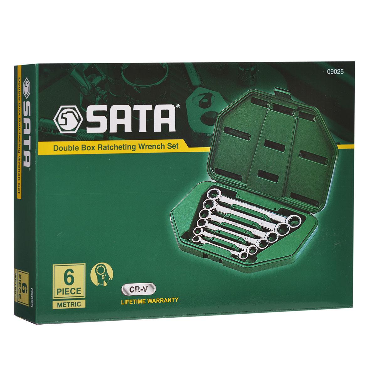 Набор ключей SATA 6пр. 0902509025Метрические накидные комбинированные ключи Sata с реверсивным трещоточным механизмом предназначены для монтажа/демонтажа резьбовых соединений. Все инструменты набора выполнены из высококачественной хромованадиевой стали. В комплекте пластиковый кейс для переноски и хранения. В набор входят ключи размером: 8 мм х 9 мм, 10 мм х 11 мм, 12 мм х 13 мм, 14 мм х 15 мм, 16 мм х 18 мм, 17 мм х 19 мм.