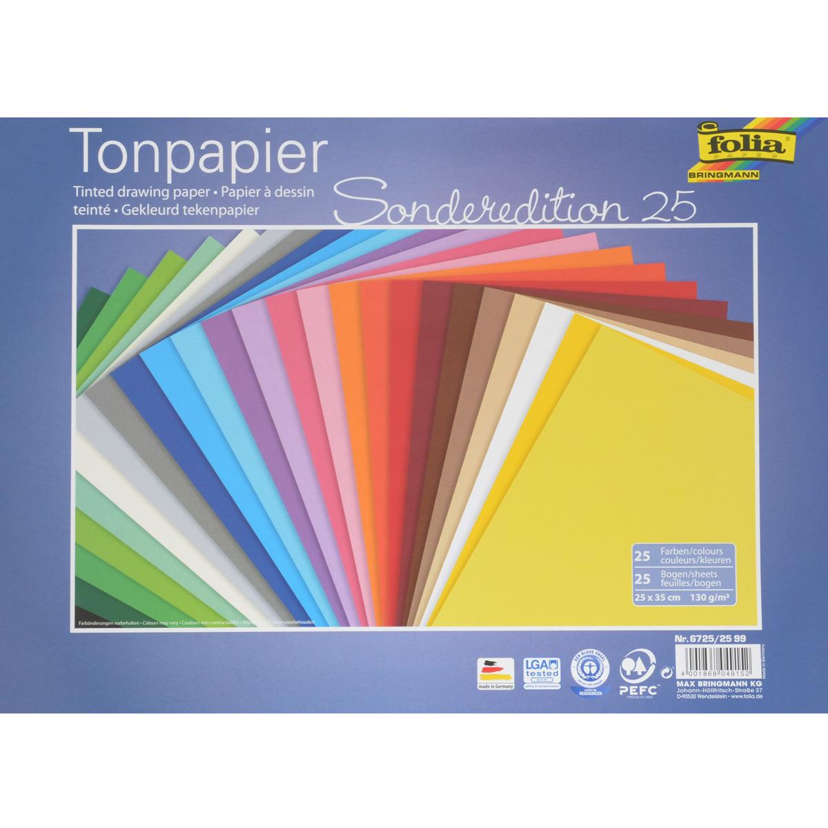 Бумага цветная Folia, 25 см х 35 см, 25 листов7708059Набор двусторонней цветной бумаги Folia прекрасно подходит для изготовления эксклюзивных подарков, открыток и многого другого. Детали, вырезанные из такой бумаги, прекрасно украсят открытки, аппликации и другие всевозможные поделки. В набор входит 25 листов бумаги разных цветов. Работа с набором развивает мелкую моторику, усидчивость и формирует художественный вкус. Плотность бумаги: 130 г/м2. Размер листа: 25 см х 35 см.