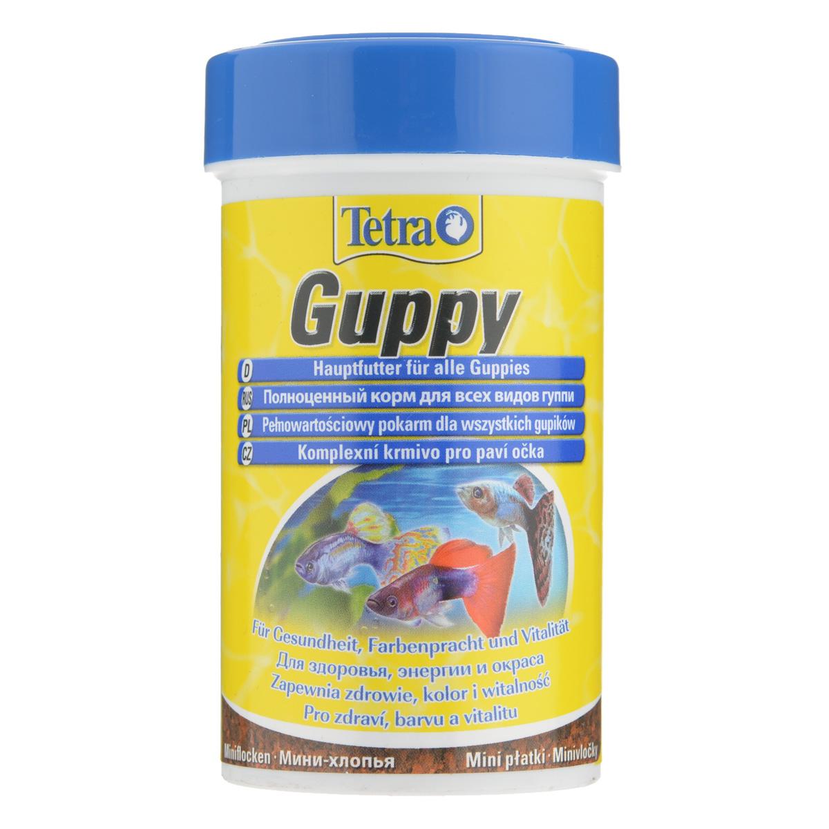 Корм Tetra Guppy для всех видов гуппи, в виде мини-хлопьев, 100 мл197213Корм Tetra Guppy - это высококачественный сбалансированный питательный корм в виде мини-хлопьев для всех видов гуппи, а также для других живородящих аквариумных рыб. Особенности Tetra Guppy: мини-хлопья изготовлены специально для маленьких ртов гуппи и других живородящих рыб, высокое содержание растительных ингредиентов и минералов для улучшения вкусовых качеств и роста, усилители окраса для ярких цветов. Рекомендации по кормлению: кормить несколько раз в день маленькими порциями. Характеристики: Состав: экстракты растительного белка, зерновые культуры, дрожжи, моллюски и раки, масла и жиры, водоросли, сахар, минеральные вещества. Пищевая ценность: сырой белок - 45%, сырые масла и жиры - 8%, сырая клетчатка - 4,0%, влага - 8%. Добавки: витамины, провитамины и химические вещества с аналогичным воздействием: витамин А 27800 МЕ/кг, витамин Д3 850 МЕ/кг. Красители, ...
