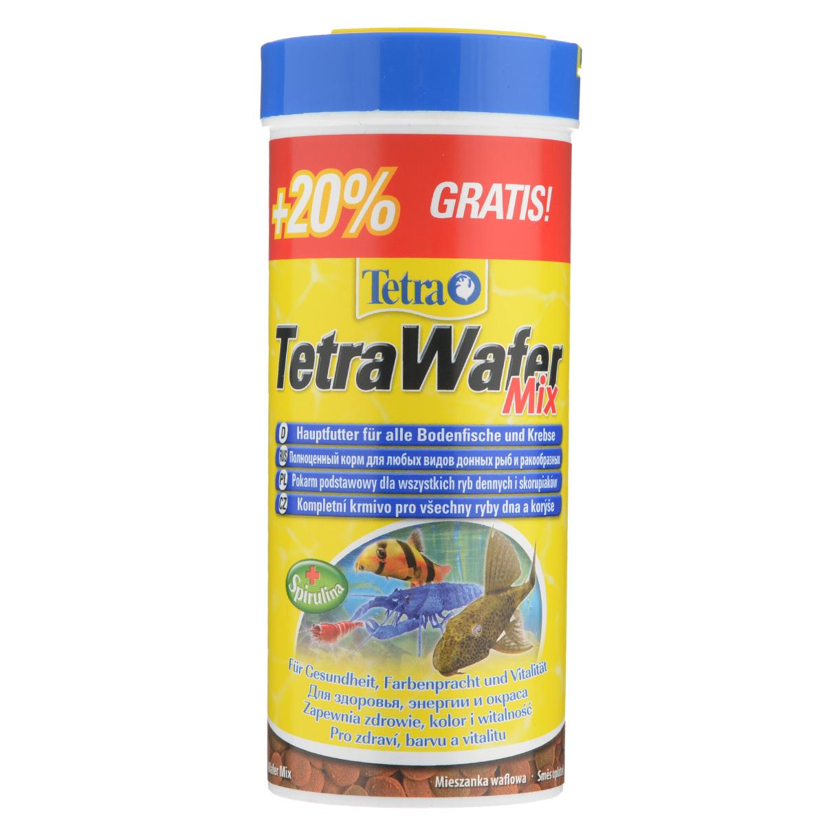 Корм сухой TetraWafer Mix для всех донных рыб и ракообразных, в виде пластинок, 300 мл198890Корм TetraWafer Mix - это сбалансированный, богатый питательными веществами корм высшего качества. Превосходное качество корма обеспечивает оптимальное питание ваших рыб. Сочетание двух разных пластинок обеспечивает разнообразие и оптимальное питание. Благодаря твердой консистенции пластинки не загрязняют воду. Рекомендации по кормлению: кормить несколько раз в день маленькими порциями. Характеристики: Состав: рыба и побочные рыбные продукты, зерновые культуры, экстракты растительного белка, растительные продукты, дрожжи, моллюски и раки, масла и жиры, водоросли (спирулина максима 1,5%), минеральные вещества. Пищевая ценность: сырой белок - 45%, сырые масла и жиры - 6%, сырая клетчатка - 2%, влага - 9%. Добавки: витамины, провитамины и химические вещества с аналогичным воздействием, витамин А 28460 МЕ/кг, витамин Д3 1770 МЕ/кг. Комбинации элементов: Е5 Марганец 64 мг/кг, Е6 Цинк 38 мг/кг, Е1 Железо 25 мг/кг, Е3 Кобальт 0,5 мг/кг....