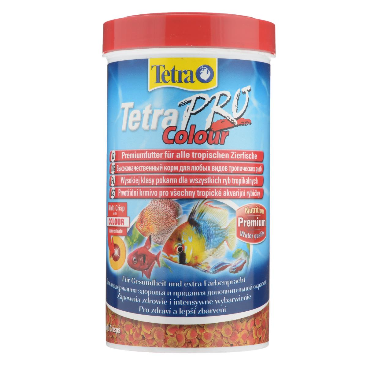 Корм сухой TetraPro Color для любых видов тропических рыб, в виде мульти-чипсов, 500 мл204454Полноценный растительный корм TetraPro Color улучшенный корм для полноценного, высокопитательного рациона. Особенности TetraPro Color: щадящая низкотемпературная технология изготовления для высокой питательной ценности и стабильности витаминов, цветной концентрат для превосходной природной окраски, инновационная форма чипсов для минимального загрязнения воды, идеально подходит для любых видов разноцветных рыб, легкое кормление. Рекомендации по кормлению: кормить несколько раз в день маленькими порциями. Характеристики: Состав: рыба и побочные рыбные продукты, зерновые культуры, экстракты растительного белка, дрожжи, моллюски и раки, масла и жиры, водоросли. Пищевая ценность: сырой белок - 46%, сырые масла и жиры - 12%, сырая клетчатка - 3%, влага - 9%. Добавки: витамины, провитамины и химические вещества с аналогичным воздействием, витамин А 29810 МЕ/кг, витамин Д3 1860 МЕ/кг,...