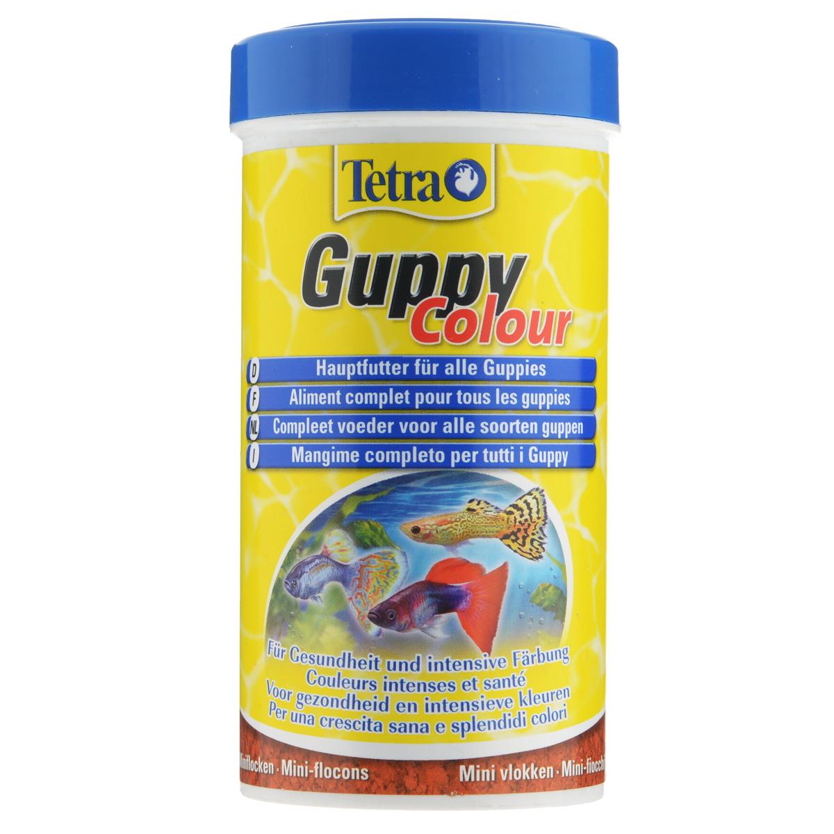 Корм Tetra Guppy Colour  для всех видов гуппи, в виде мини-хлопьев, 250 мл197190Корм Tetra Guppy Colour  - это полноценный корм в виде мини-хлопьев для всех видов гуппи, а также для других живородящих аквариумных рыб. Содержит натуральные усилители окраски (каротиноиды, полученные из некоторых видов растений и ракообразных). Содержит легкоусвояемый растительный белок. Улучшает иммунную систему и развитие организма. Рекомендации по кормлению: кормить несколько раз в день маленькими порциями. Характеристики: Состав: рыба и побочные рыбные продукты, экстракты растительного белка, зерновые культуры, растительные продукты, дрожжи, моллюски и раки, масла и жиры, водоросли, минеральные вещества. Пищевая ценность: сырой белок - 45%, сырые масла и жиры - 8%, сырая клетчатка - 4%, влага - 8%. Добавки: витамины, провитамины и химические вещества с аналогичным воздействием: витамин А 27200 МЕ/кг, витамин Д3 1700 МЕ/кг. Красители, антиоксиданты. Вес: 250 мл (75 г). Товар...
