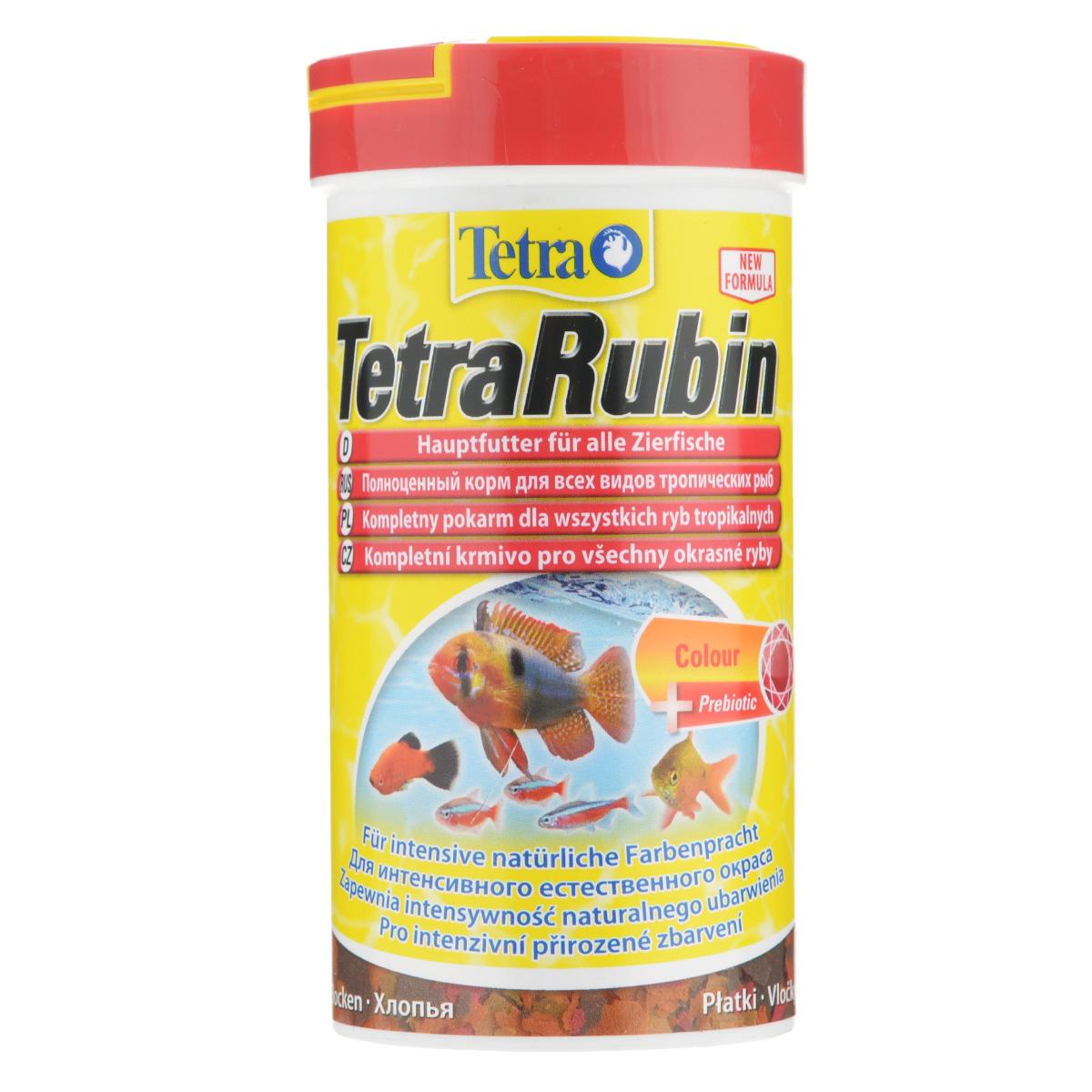 Корм TetraRubin для всех видов аквариумных тропических рыб, в виде хлопьев, 250767362Корм TetraRubin - это биологически сбалансированный корм для здоровья и красоты рыб. Превосходная смесь хлопьев со специальным комплексом усилителей цвета обеспечивает полноценное питание рыб и подходит для ежедневного кормления. Особенности TetraRubin: высокое содержание усилителей естественного цвета обеспечивает красивый окрас для всех красных, оранжевых и желтых тропических рыб. Рекомендации по кормлению: кормите несколько раз в день маленькими порциями. Характеристики: Состав: рыба и побочные рыбные продукты, экстракты растительного белка, зерновые культуры, дрожжи, моллюски и раки, водоросли, минеральные вещества, масла и жиры, сахар (Олигофруктоза 0,9%). Пищевая ценность: сырой белок - 46%, сырые масла и жиры - 11%, сырая клетчатка - 2%, влага - 6%. Добавки: витамины, провитамины и химические вещества с аналогичным воздействием: витамин А 40820 МЕ/кг, витамин Д3 2320 МЕ/кг....