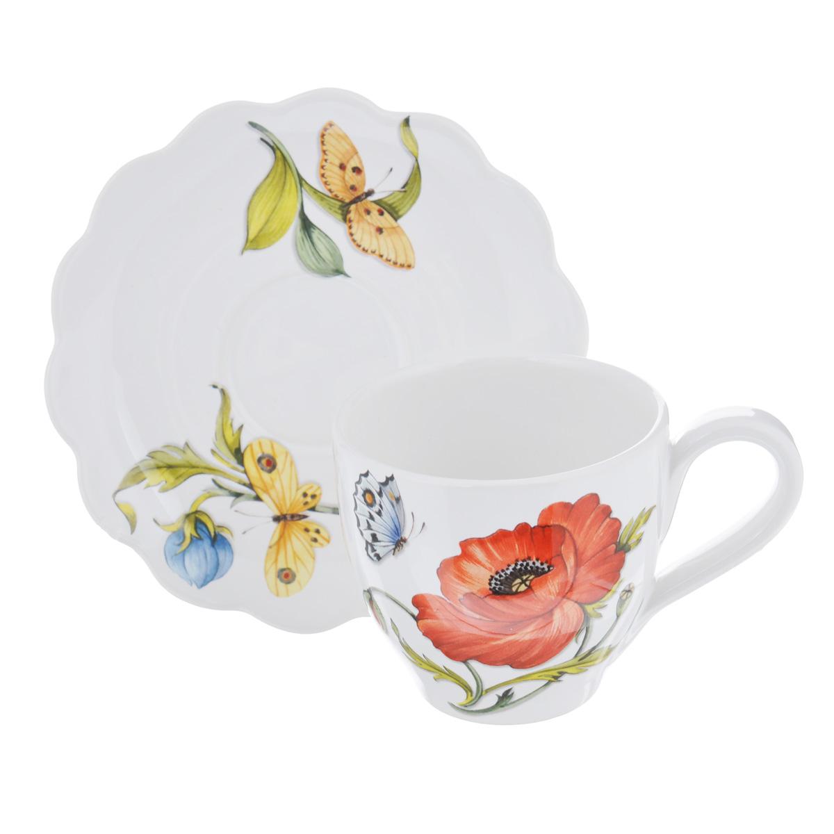 Чашка с блюдцем Nuova Cer Ботанический сад, 250 млGRB-7417Чашка с блюдцем Nuova Cer Ботанический сад изготовлены из высококачественной керамики и декорированы оригинальным цветочным рисунком. Они прекрасно подойдут для вашей кухни и великолепно украсят стол. Изящный дизайн и красочность оформления чашки и блюдца придутся по вкусу и ценителям классики, и тем, кто предпочитает утонченность и изысканность. Объем кружки: 250 мл. Диметр кружки по верхнему краю: 9 см. Высота кружки: 7,5 см. Диаметр блюдца: 16 см. Посуду фабрики Nuova Cer S.N.C отличают теплые оттенки и верность истинно итальянскому стилю. Для итальянского стиля характерна довольно толстая, нарочито простая керамическая посуда с красочной, яркой глазурью, с наивной росписью и орнаментами. Такую посуду можно использовать в микроволновой печи и мыть в посудомоечной машине.