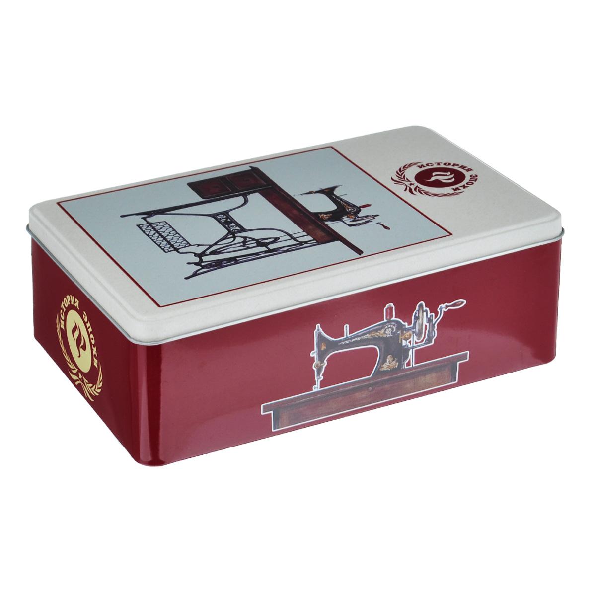 Коробка для хранения Феникс-презент Советская швейная машинка, 20 х 13 х 6,5 см37671Коробка для хранения Феникс-презент Советская швейная машинка, выполненная из металла, декорирована изображением швейной машинки. Внутри коробки имеется одно вместительное отделение. Крышка изделия открывается с помощью откидного механизма. Коробка для хранения Феникс-презент Советская швейная машинка станет оригинальным украшением интерьера и позволит хранить украшения, бижутерию, а также предметы шитья или рукоделия.