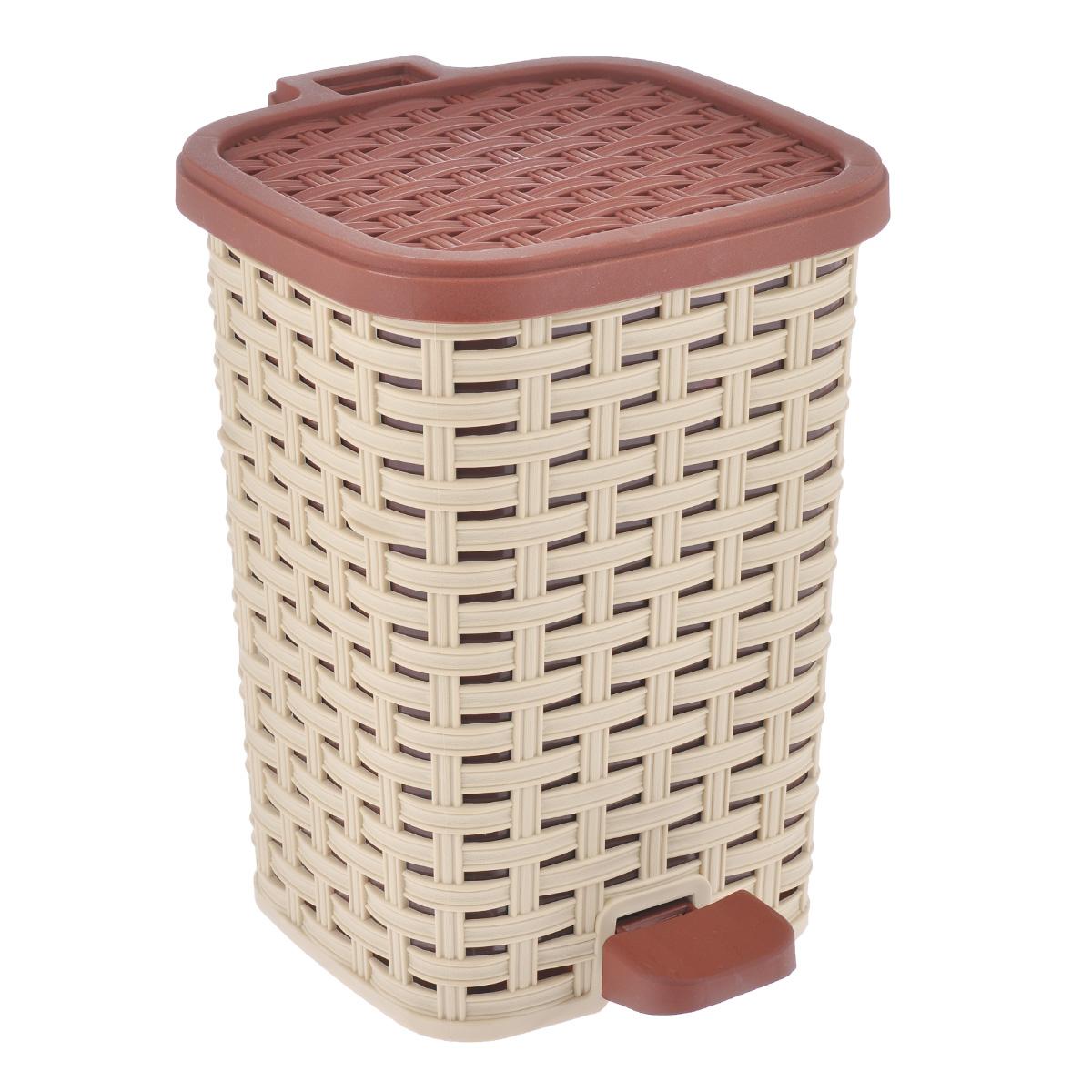 Ведро для мусора Dunya Plastik Раттан, с педалью, цвет: бежевый, коричневый, 6 л1052Ведро для мусора Dunya Plastik Раттан, выполненное из прочного пластика, обеспечит долгий срок службы и легкую чистку. Ведро поможет вам держать мелкий мусор в порядке и предотвратит распространение неприятного запаха. Откидная пластиковая крышка открывается и закрывается при помощи педали. Изделие выполнено в виде плетеной корзины с пластиковой вынимающейся емкостью для мусора внутри. Размер ведра (по верхнему краю): 19 см х 17 см. Высота (без учета крышки): 26 см. Высота (с учетом крышки): 27,5 см.