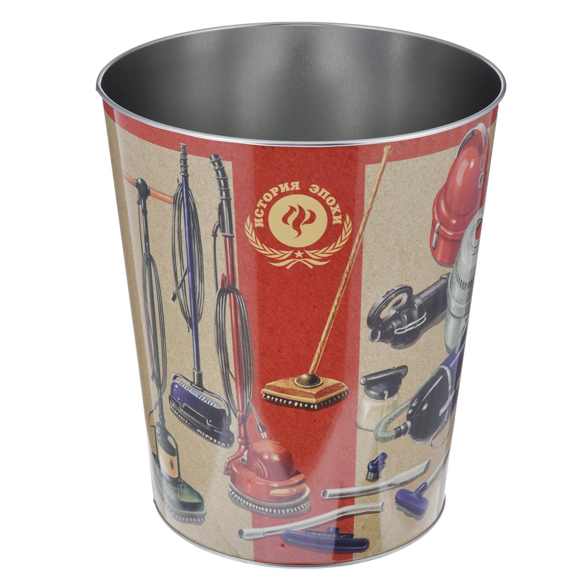 Ведро для мусора Феникс-презент Пылесосы37663Ведро для мусора Феникс-презент Пылесосы изготовлено из металла с изображением старых советских пылесосов. Такой аксессуар очень удобен в использовании, как дома, так и в офисе и прекрасно подойдет для уборки и хранения мусора. Диаметр ведра: 22,5 см. Высота ведра: 26,5 см.