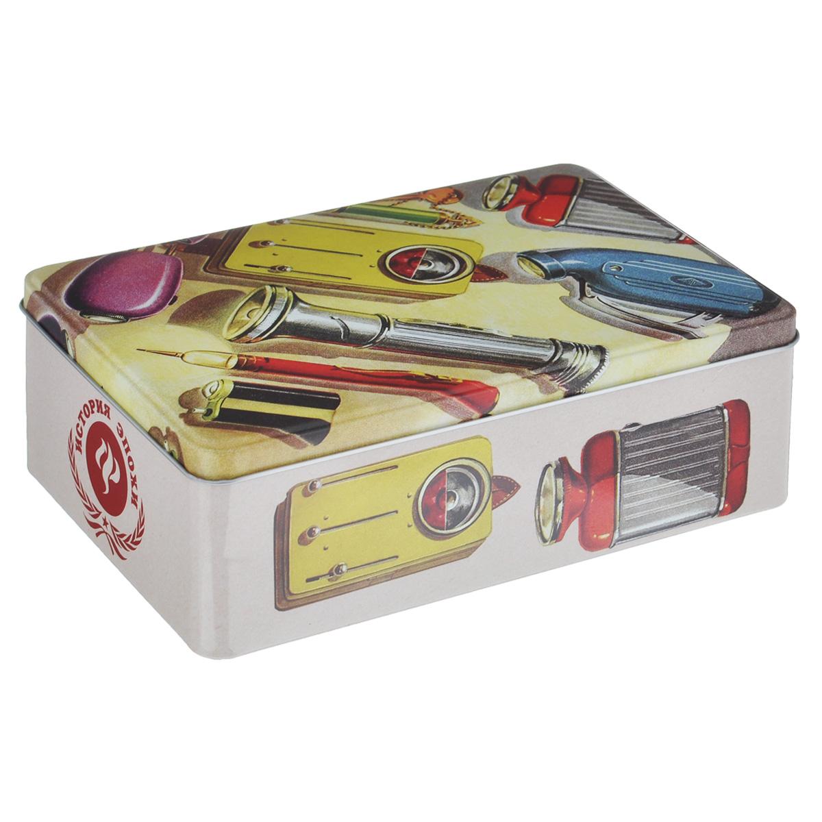 Коробка для хранения Феникс-презент Инструменты, 20 см х 13 см х 6,5 см37668Коробка для хранения Феникс-презент Инструменты, выполненная из металла, декорирована изображением различных инструментов. Внутри коробки имеется одно вместительное отделение. Крышка изделия открывается с помощью откидного механизма. Коробка для хранения Феникс-презент Инструменты станет оригинальным украшением интерьера и позволит хранить украшения, бижутерию, а также предметы шитья или рукоделия.
