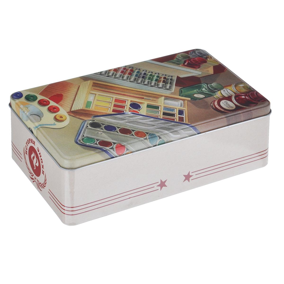 Коробка для хранения Феникс-презент Краски, 20 х 13 х 6,5 см37669Коробка для хранения Феникс-презент Краски, выполненная из металла, декорирована изображением различных красок для рисования. Внутри коробки имеется одно вместительное отделение. Крышка изделия открывается с помощью откидного механизма. Коробка для хранения Феникс-презент Краски станет оригинальным украшением интерьера и позволит хранить украшения, бижутерию, а также предметы шитья или рукоделия.
