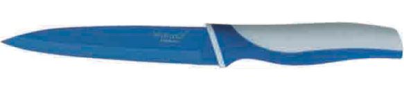 Нож универсальный Winner, цвет: голубой, белый, длина лезвия 12,5 см. WR-7209WR-7209Универсальный нож Winner выполнен из высококачественной нержавеющей стали с цветным полимерным покрытием Xynflon, предотвращающим прилипание продуктов. Очень удобная и эргономичная ручка выполнена из прорезиненного пластика с антибактериальным покрытием Zeomic. Нож применяется для нарезки фруктов, сыра и приготовления бутербродов. Нож помогает поддерживать идеальную гигиену на кухне. Zeomic обеспечивает постоянную противомикробную защиту, позволят сохранить нож в чистоте в течение длительного периода времени после мытья, подавляет бактерии, которые способствуют появлению загрязнения и неприятного запаха, гнили и плесени в течение всего времени использования изделия. Универсальный нож Winner предоставит вам все необходимые возможности в успешном приготовлении пищи и порадует вас своими результатами. К ножу прилагаются пластиковые ножны. Общая длина ножа: 23,2 см. Длина лезвия: 12,5 см. Толщина лезвия: 1,2 мм.