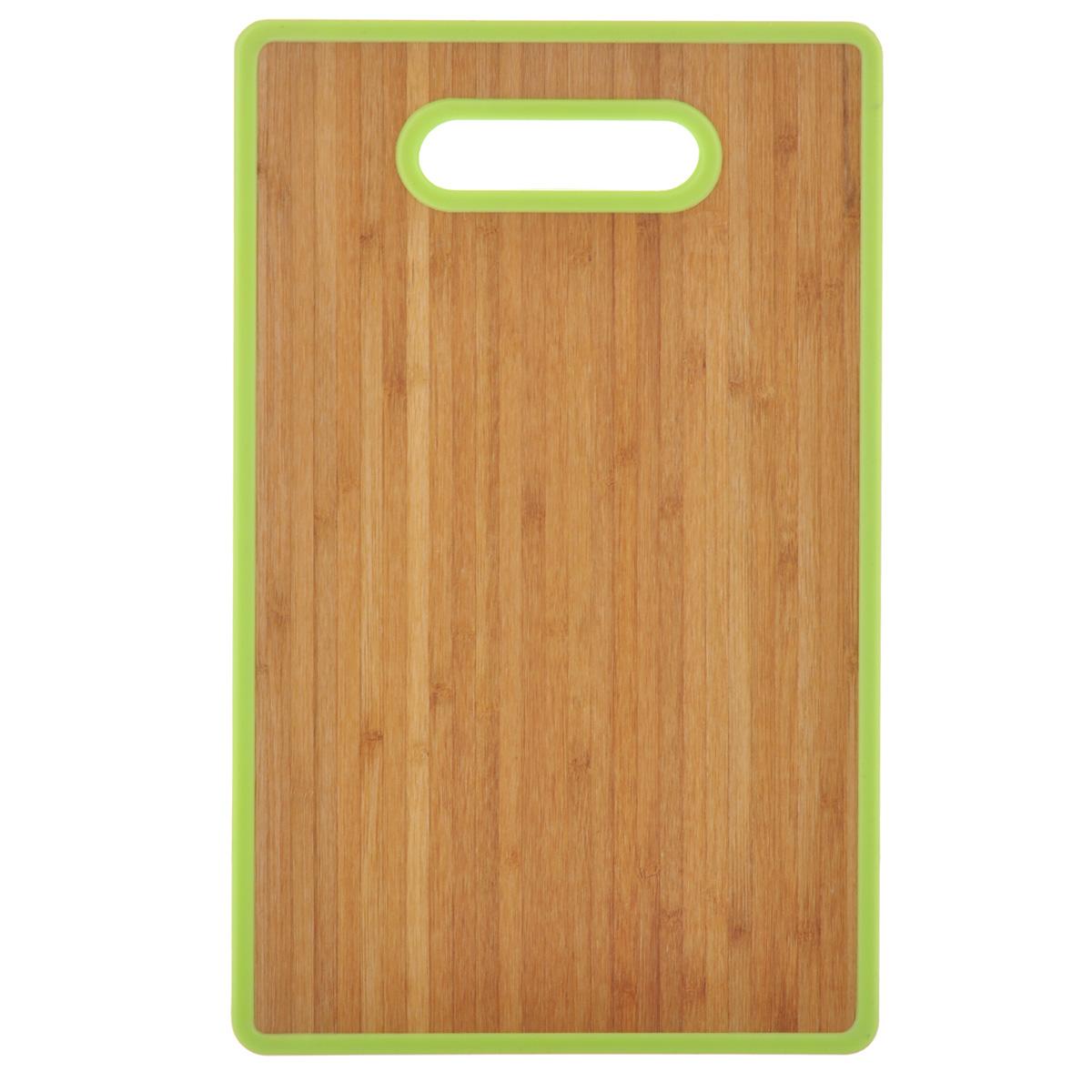 Доска разделочная Home Center, цвет: светло-зеленый, 22,5 см х 37 см10136392Разделочная доска Home Center идеально впишется в интерьер современной кухни. Изделие выполнено с одной стороны - из высококачественного пластика, с другой - из бамбука. Благодаря качественному природному материалу - древесине бамбука, доска обладает высокими гигиеничными свойствами, не впитывает влагу и запахи, имеет долгий срок службы и высокую износоустойчивость. Она прекрасно подойдет для нарезки любых продуктов. Размер доски: 22,5 см х 37 см х 1,2 см.