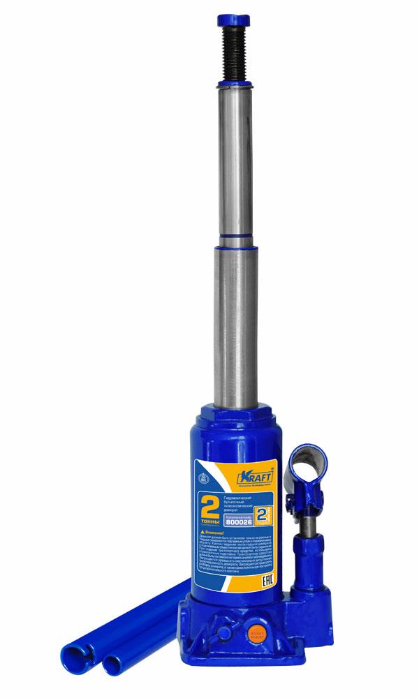 Домкрат бутылочный Kraft КТ 800026, телескопический, 2 т