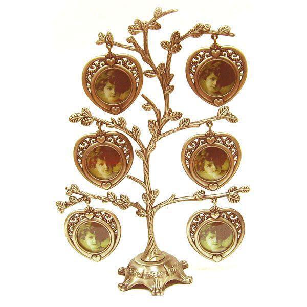 Металлическая фоторамка Дерево, на 6 фотографий. 9226392263Оригинальная рамка для фотографий выполнена в виде дерева, на ветвях которого прикреплены небольшие рамочки в виде сердечек. На таком дереве вы сможете разместить фото всей своей семьи. Такая рамка послужит оригинальным и практичным подарком.