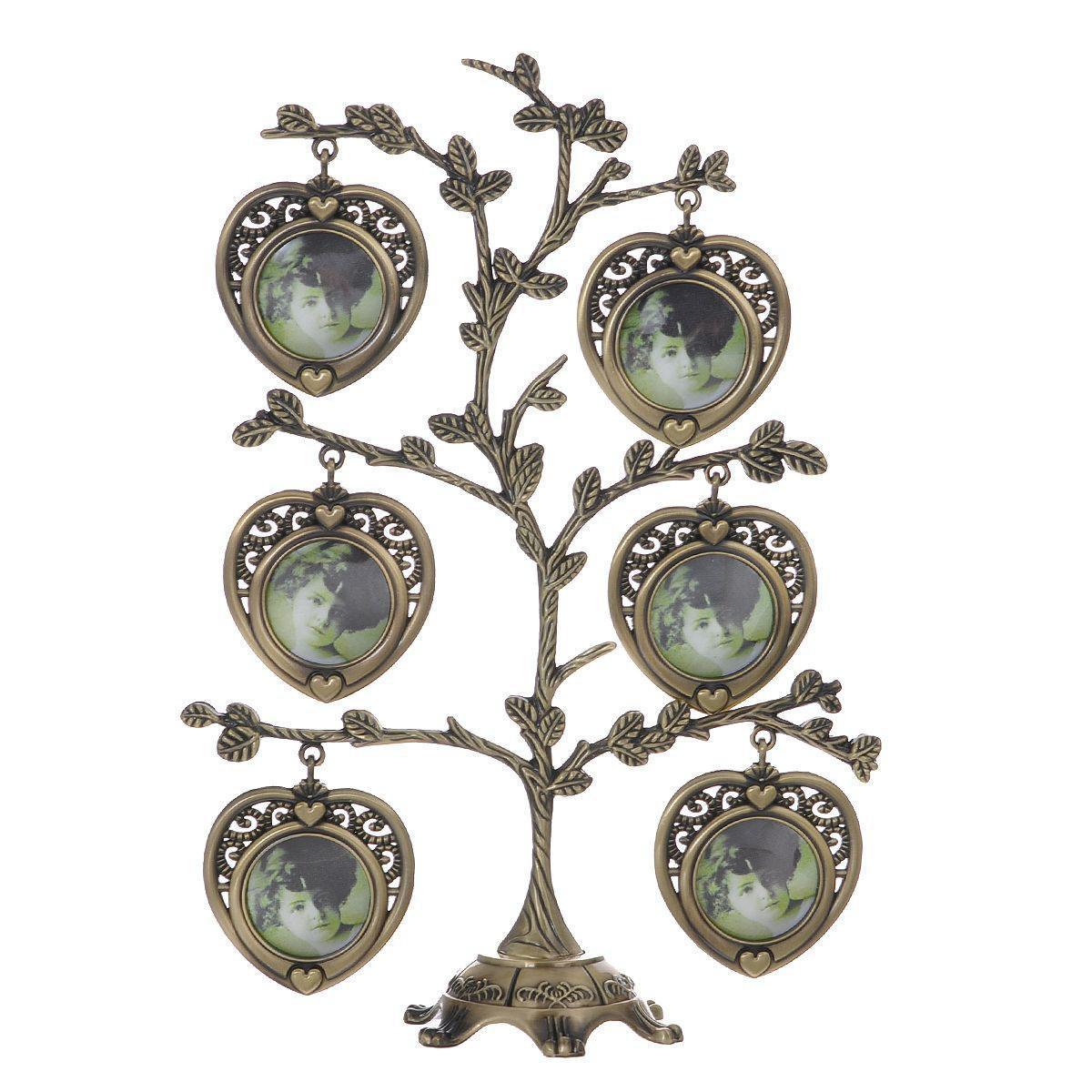 Декоративная фоторамка-дерево Сердце, цвет: бронзовый, на 7 фото, 4 х 4 см 264062264062Декоративная фоторамка-дерево Сердце выполнена из сплава цинка бронзового цвета. На подставку в виде деревца подвешиваются семь рамочек в форме сердца, оформленных в ретро-стиле. Изысканная и эффектная, эта потрясающая рамочка покорит своей красотой и изумительным качеством исполнения. Декоративная фоторамка Дерево не только украсит интерьер помещения, но и поможет разместить фото всей вашей семьи. Характеристики: Материал: металл (сплав цинка), пластик. Цвет: бронзовый. Общий размер фоторамки (ШхВ): 17 см х 23 см. Диаметр основания: 7 см. Количество фотографий: 7 шт. Размер фотографий: 4 см х 4 см. Размер упаковки: 21 см х 32,5 см х 4,5 см. Артикул: 264062.