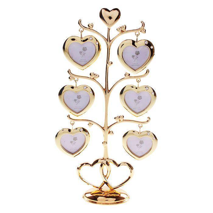Фоторамка Дерево, цвет: золотистый, 4 х 4 см, на 6 фотографий. 535830535830Оригинальная рамка для фотографий Дерево выполнена из золотистого металла в виде дерева, на ветвях которого размещаются односторонние рамочки в форме сердечек. Рамочки декорированы стразами. На таком дереве вы сможете разместить фотографии всей семьи. Фоторамка послужит оригинальным и практичным подарком. С такой фоторамкой вы сможете не просто внести в интерьер своего дома элемент необычности, но и создать атмосферу загадочности и изысканности. Характеристики: Материал: металл, стразы. Общий размер фоторамки: 11,5 см х 26 см х 4,5 см. Размер рамки-сердечка: 5 см х 5 см. Размер фотографии: 4 см х 4 см. Размер упаковки: 17,5 см х 29 см х 5 см. Артикул: 535830.