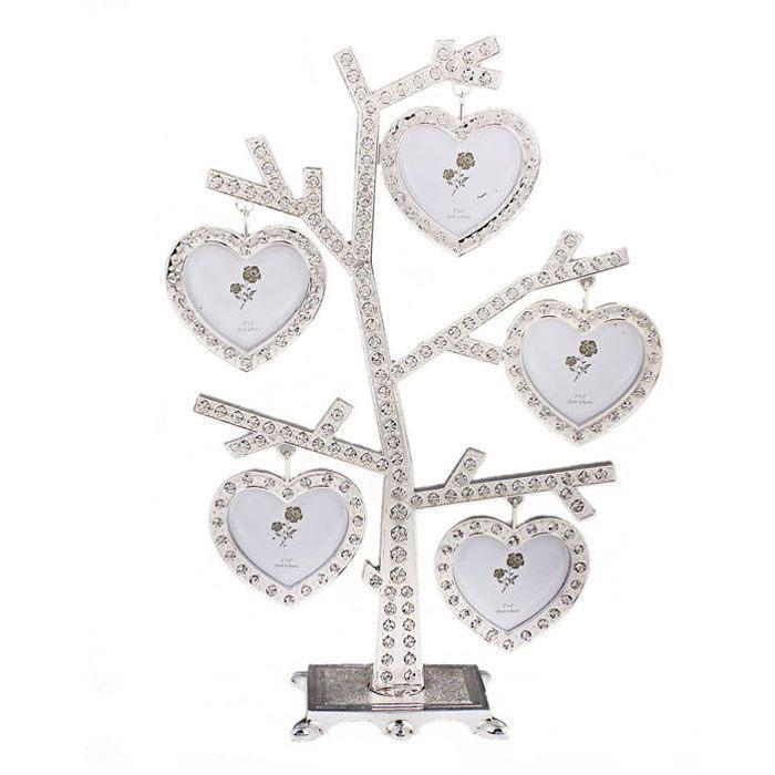 Фоторамка Дерево, цвет: серебристый, 5 х 5 см, на 5 фотографий. 535866535866Оригинальная рамка для фотографий Дерево выполнена из серебристого металла в виде дерева, на ветвях которого размещаются односторонние рамочки в форме сердечек. Рамочки декорированы стразами. На таком дереве вы сможете разместить фотографии всей семьи. Фоторамка послужит оригинальным и практичным подарком. С такой фоторамкой вы сможете не просто внести в интерьер своего дома элемент необычности, но и создать атмосферу загадочности и изысканности.