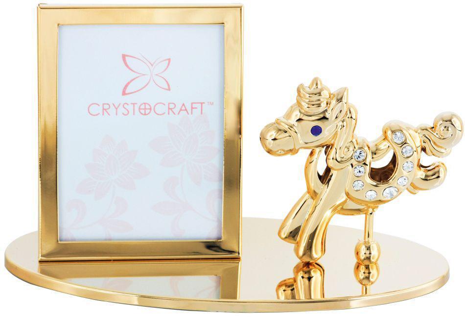 """Фоторамка Crystocraft """"Лошадка"""", цвет: золотистый, 5 см х 3,5 см U0401-042-GC1"""