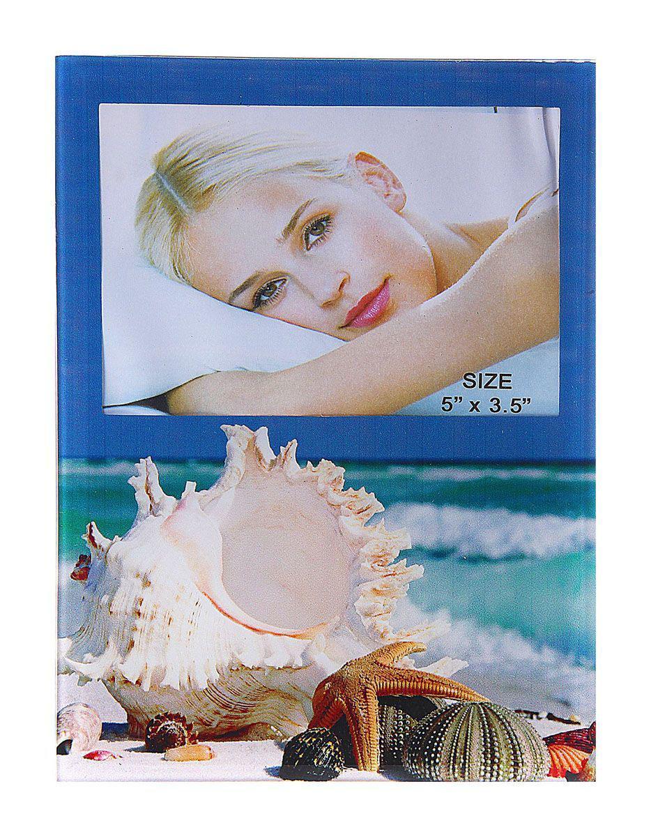"Фоторамка Sima-land ""Морские ракушки"", цвет: белый, голубой, 9 х 13 см"